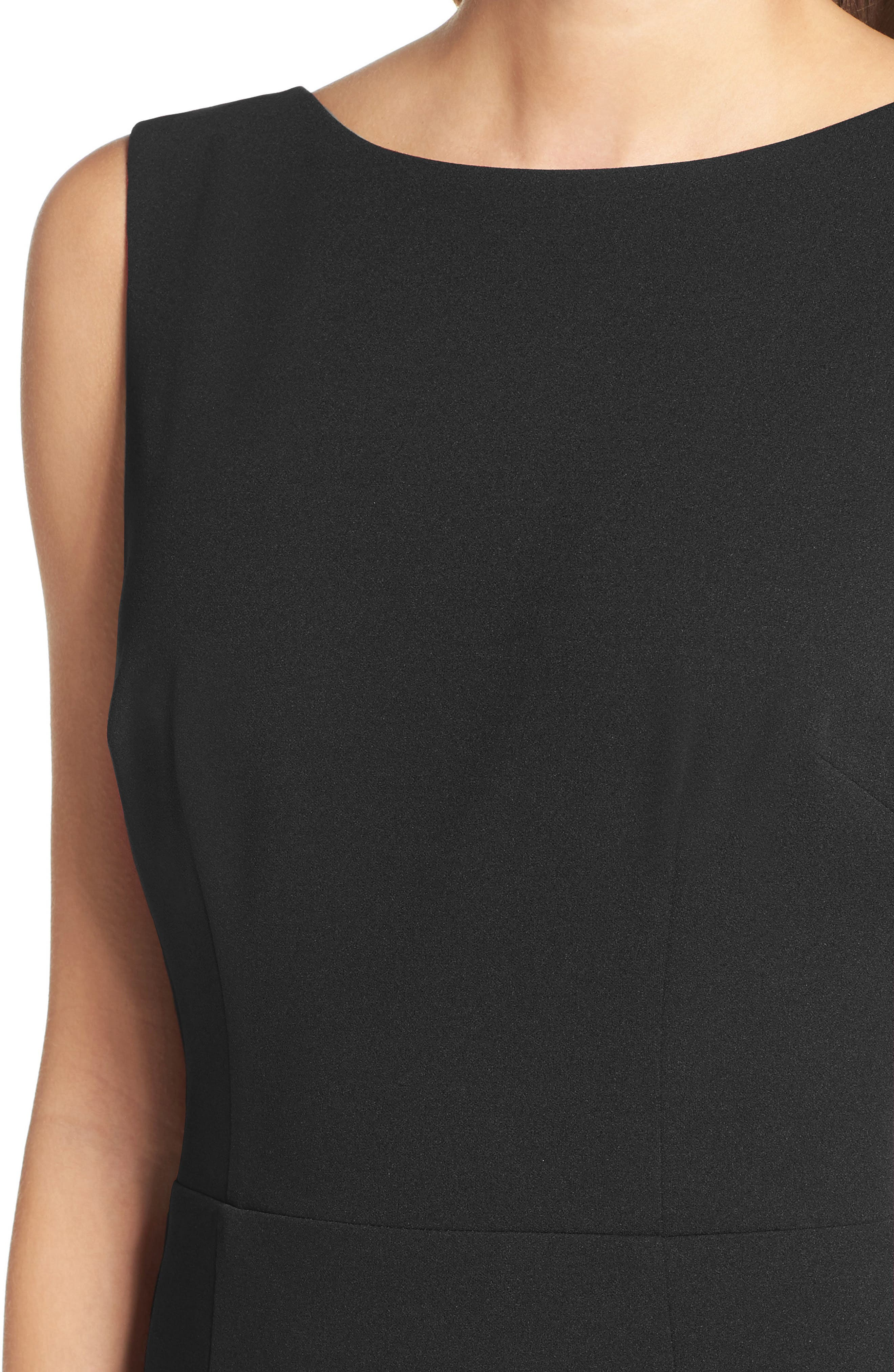 KATIE MAY, Vionnet Drape Back Crepe Gown, Alternate thumbnail 4, color, BLACK