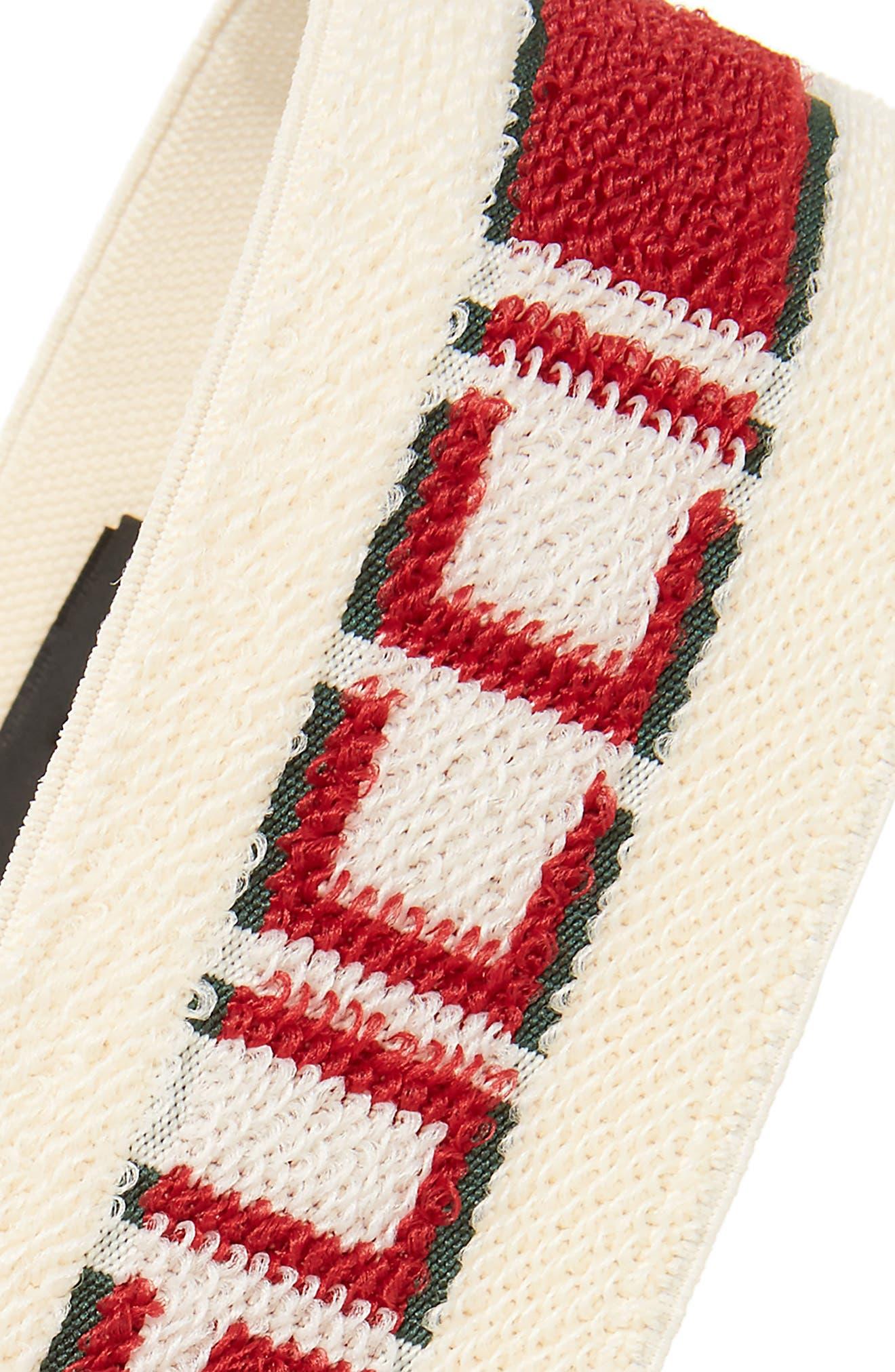 GUCCI, Logo Stripe Headband, Alternate thumbnail 2, color, IVORY/ DARK GREEN