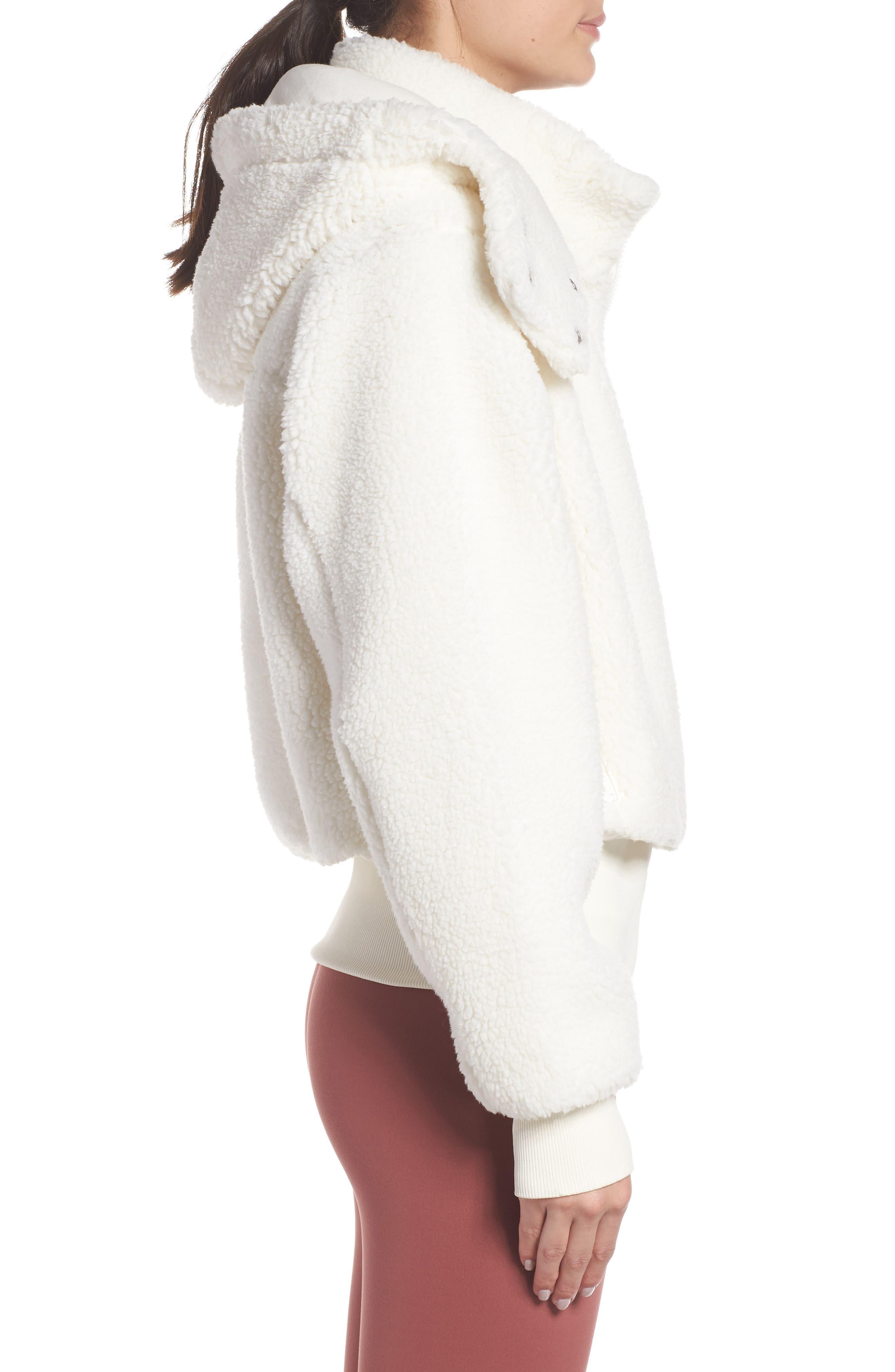 ALO, Foxy Faux Fur Jacket, Alternate thumbnail 4, color, PRISTINE