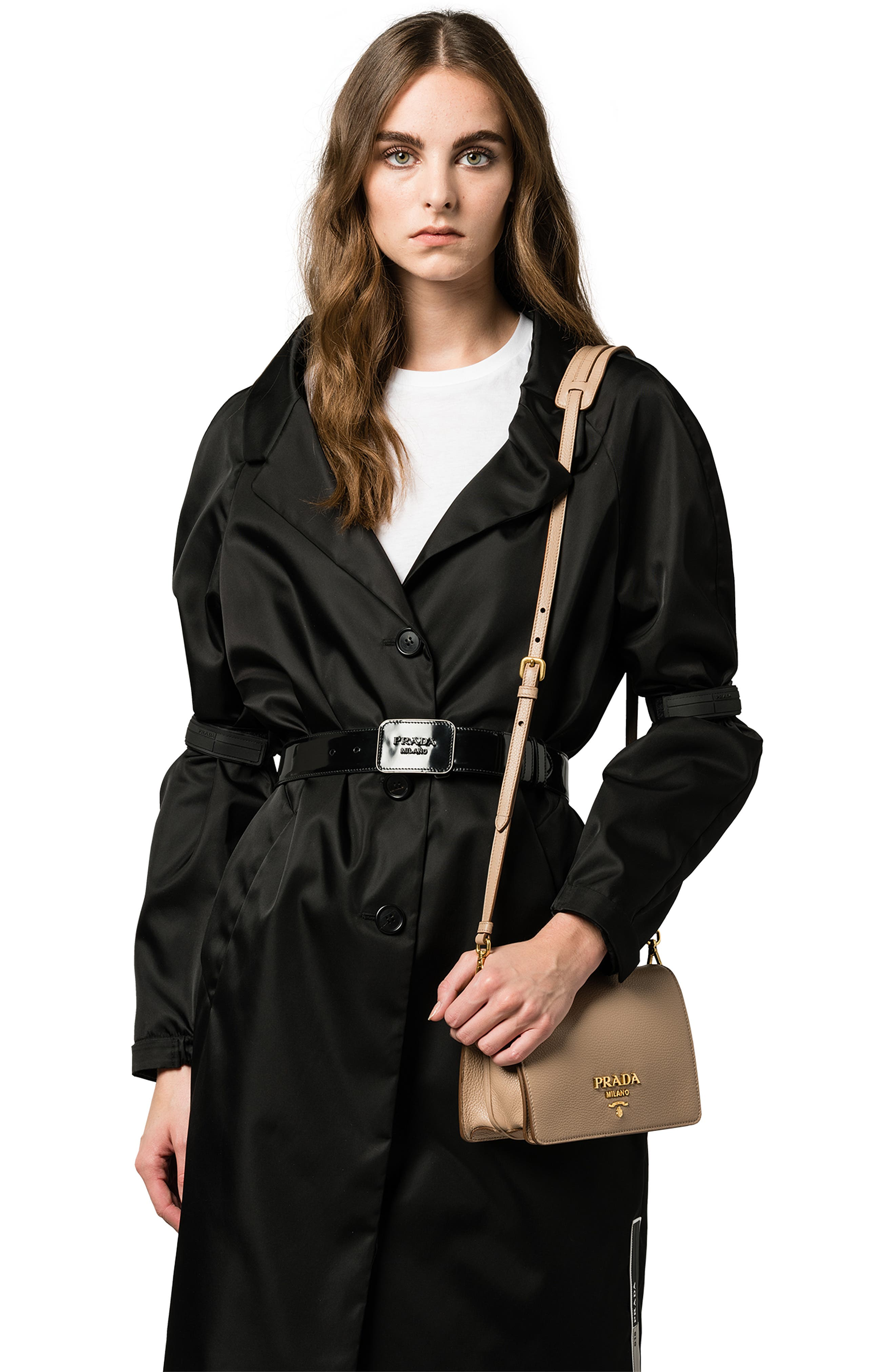PRADA, Vitello Daino Double Compartment Leather Shoulder Bag, Alternate thumbnail 2, color, CAMMEO