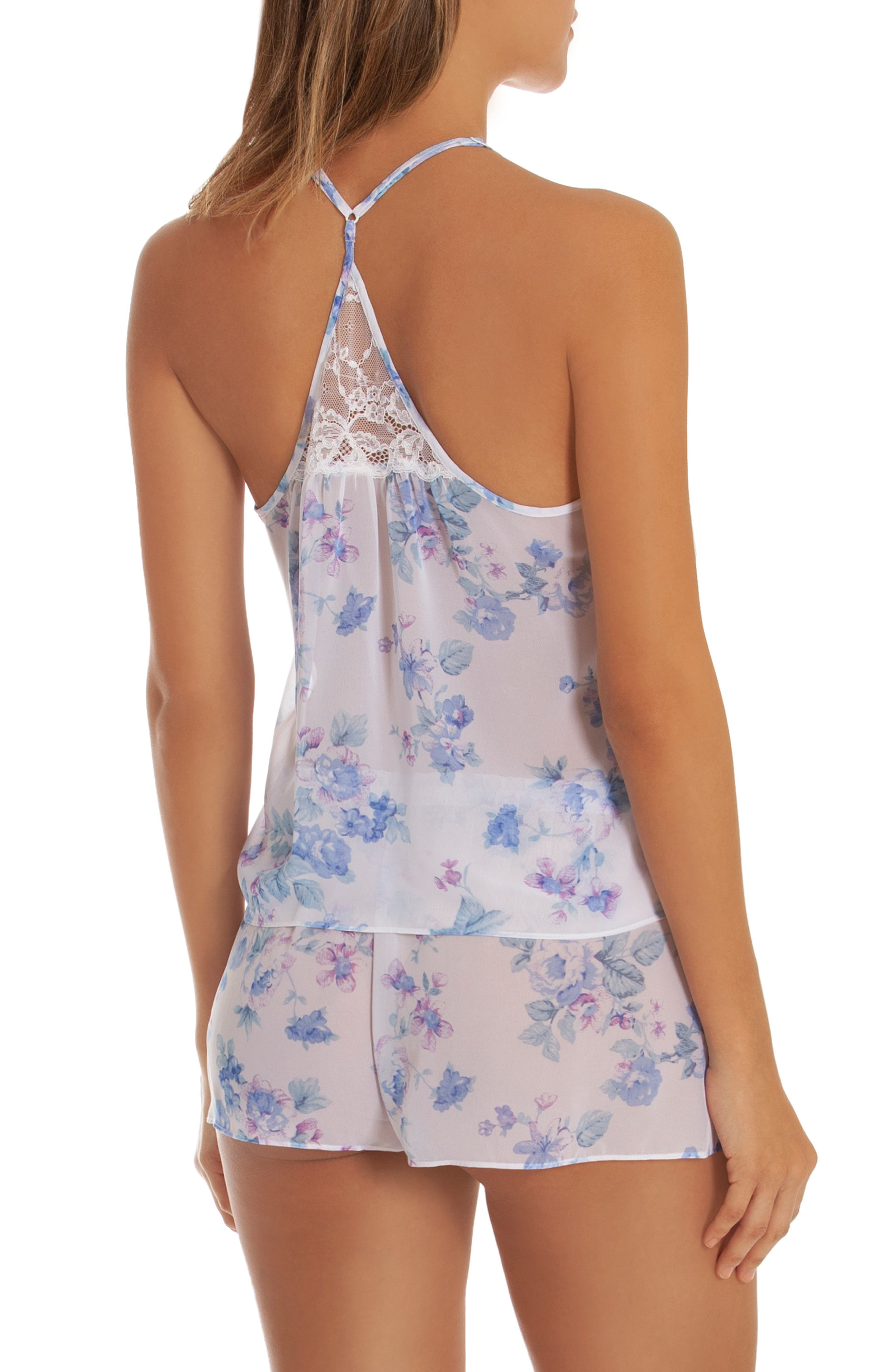 IN BLOOM BY JONQUIL, Chiffon Short Pajamas, Alternate thumbnail 2, color, BLUE/ IVORY