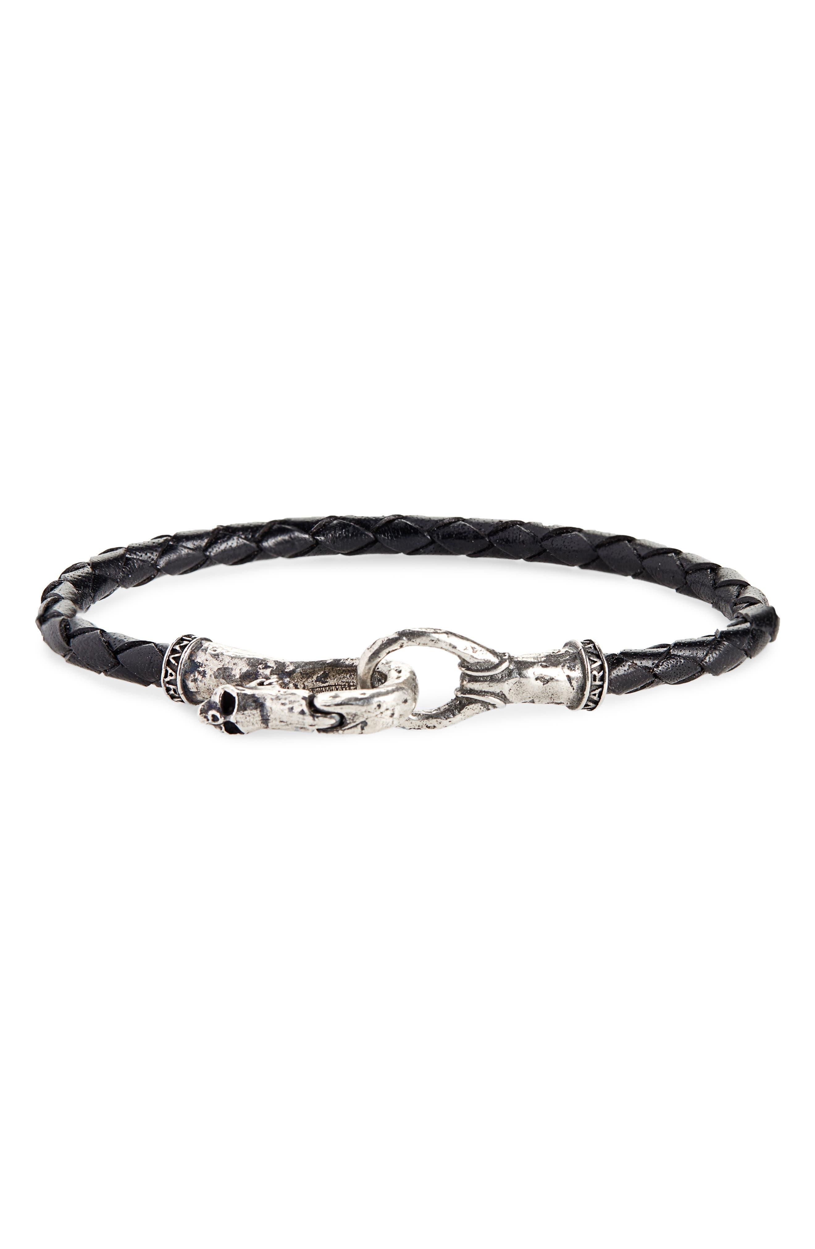 JOHN VARVATOS, Braided Leather Bracelet, Main thumbnail 1, color, BLACK