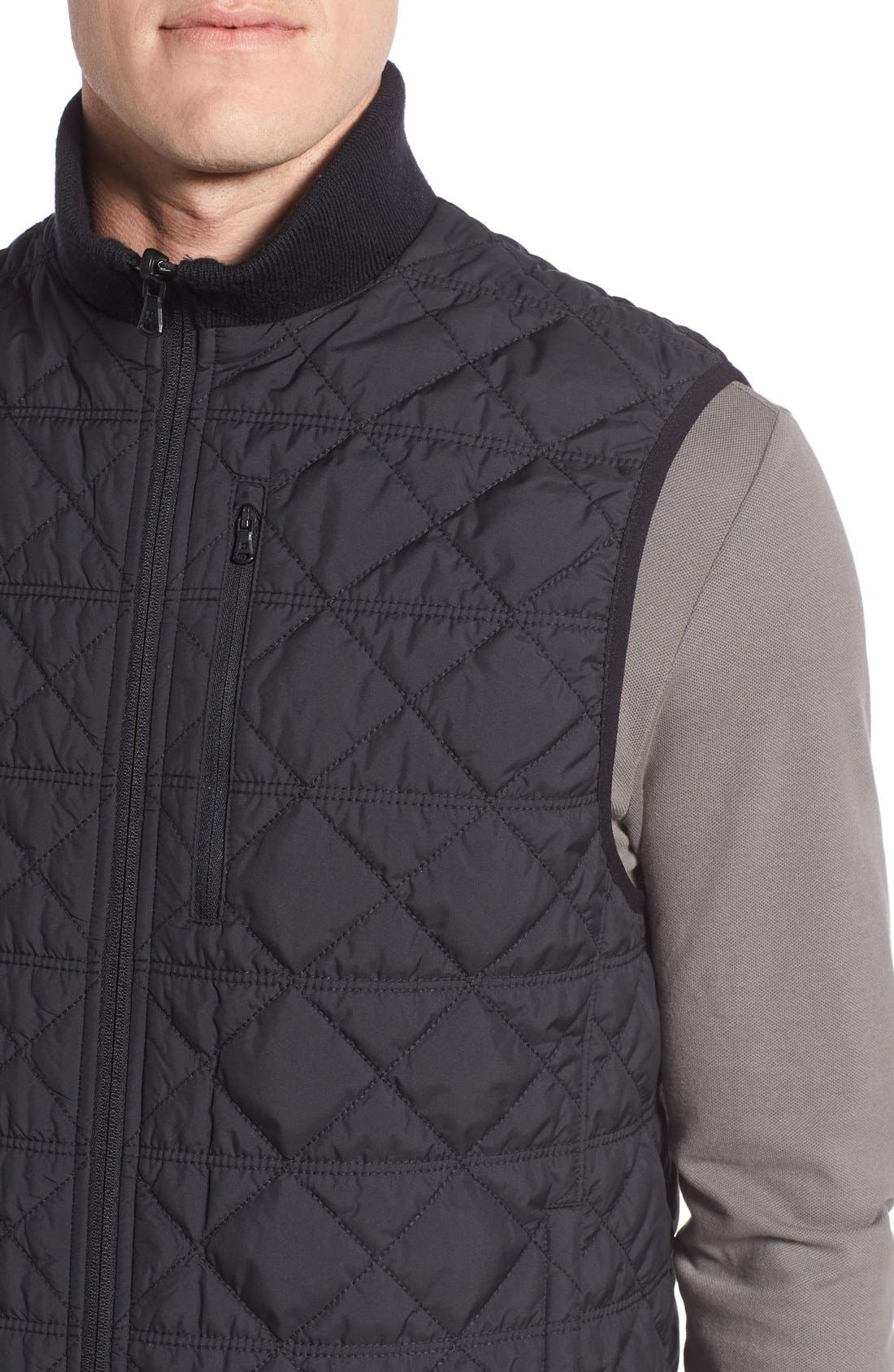 VICTORINOX SWISS ARMY<SUP>®</SUP>, Quilted Matterhorn II Water Repellent Vest, Alternate thumbnail 4, color, 001