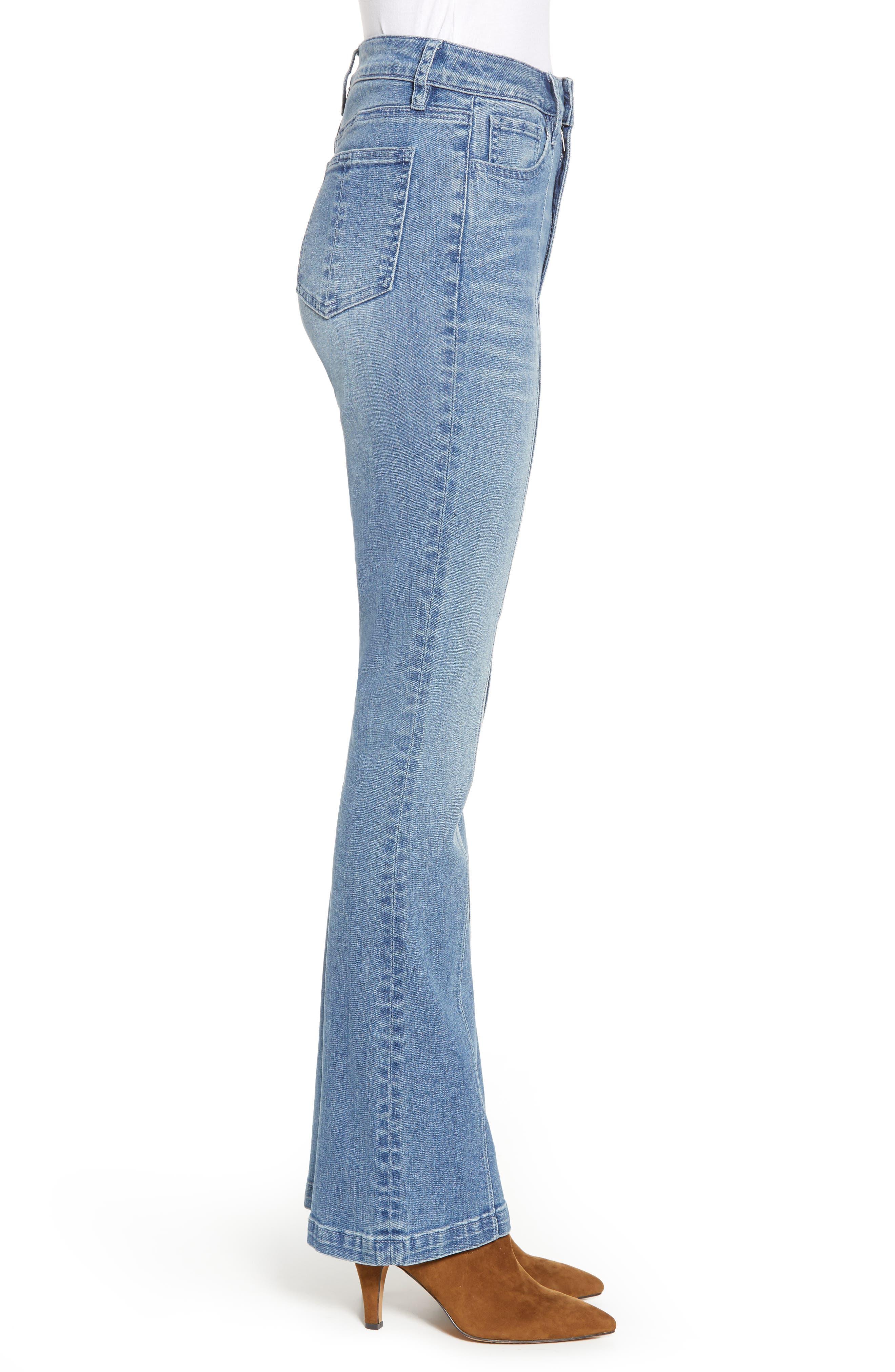 PROSPERITY DENIM, Pintuck Flare Jeans, Alternate thumbnail 4, color, KARLA WASH