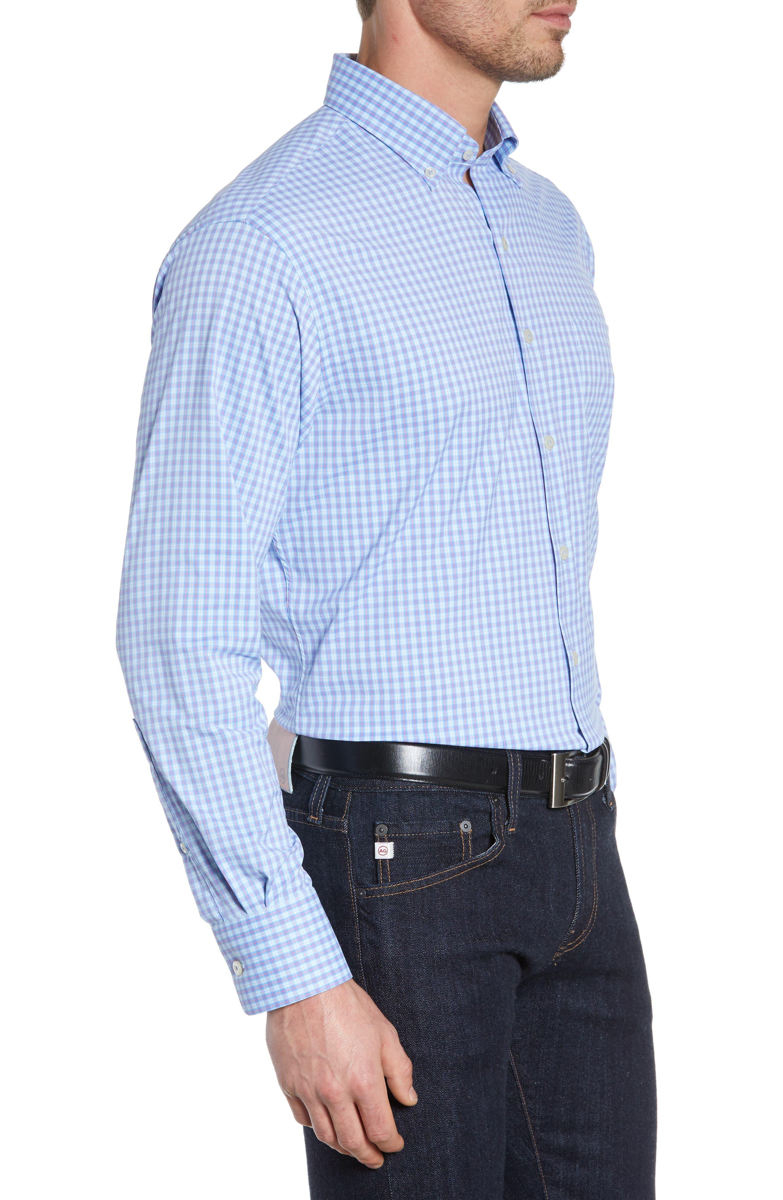 PETER MILLAR, Hawkins Plaid Performance Sport Shirt, Alternate thumbnail 4, color, VESSEL