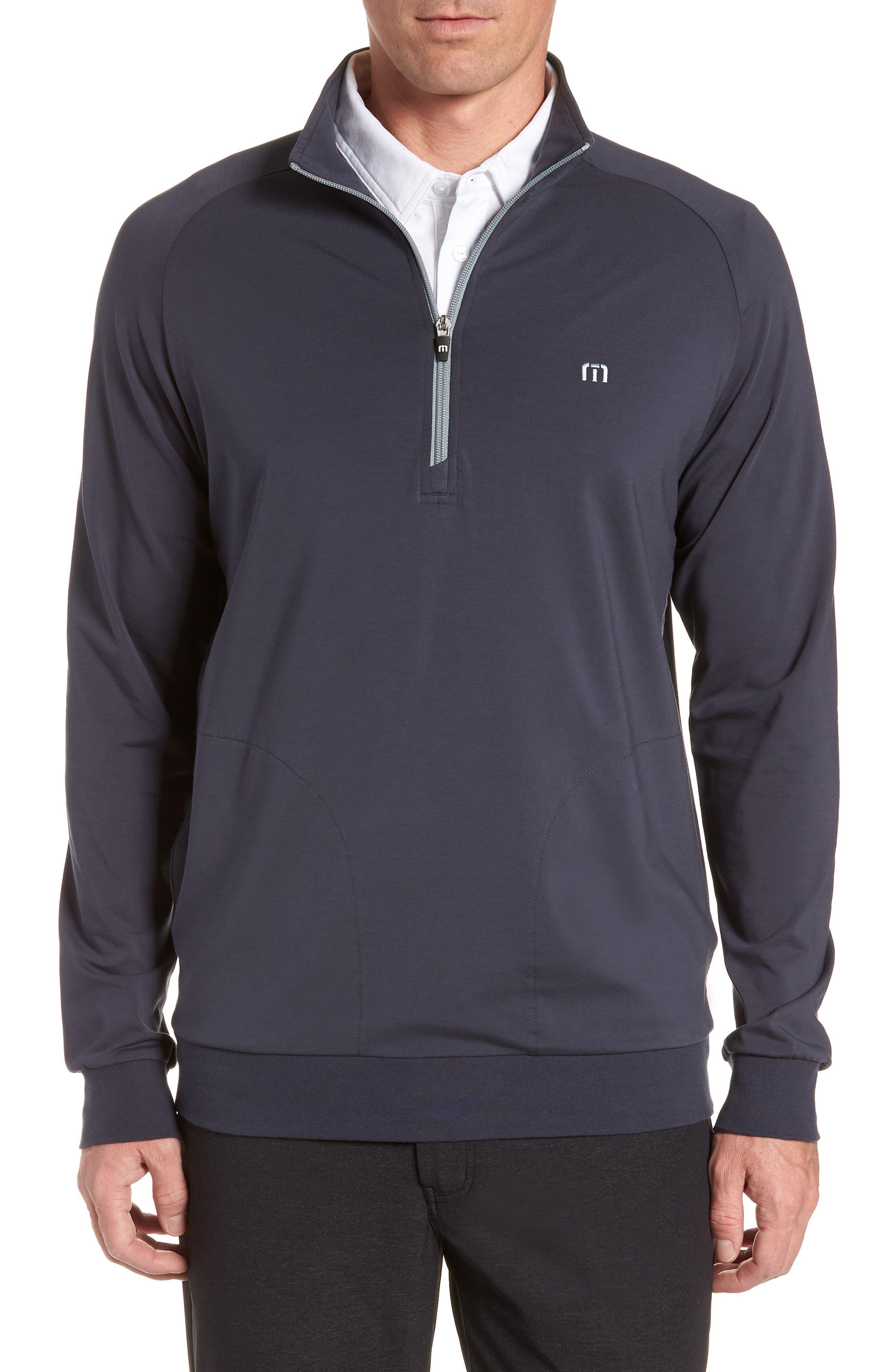 TRAVISMATHEW 'Strange Love' Trim Fit Wrinkle Resistant Quarter Zip Jacket, Main, color, BLUE NIGHTS