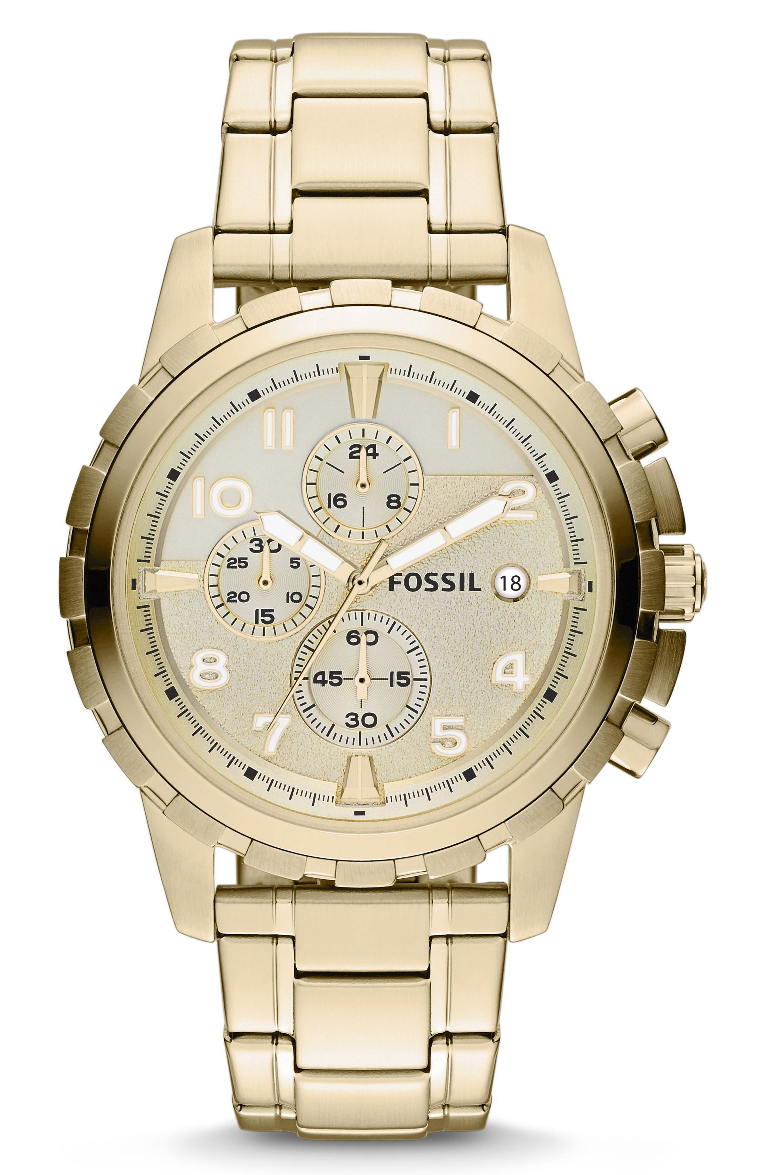 FOSSIL Notched Bezel Chronograph Bracelet Watch, 45mm, Main, color, GOLD