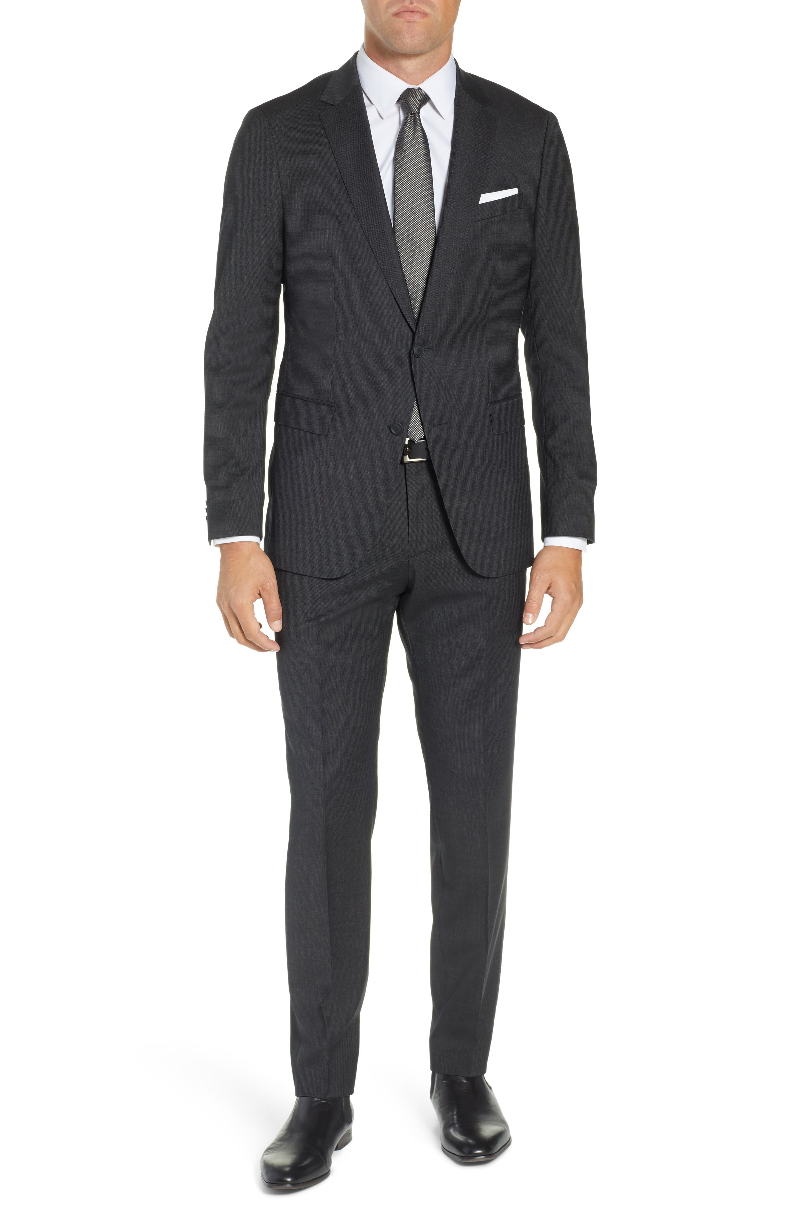 BOSS, Nestro/Byte Trim Fit Stretch Solid Wool Suit, Main thumbnail 1, color, 001
