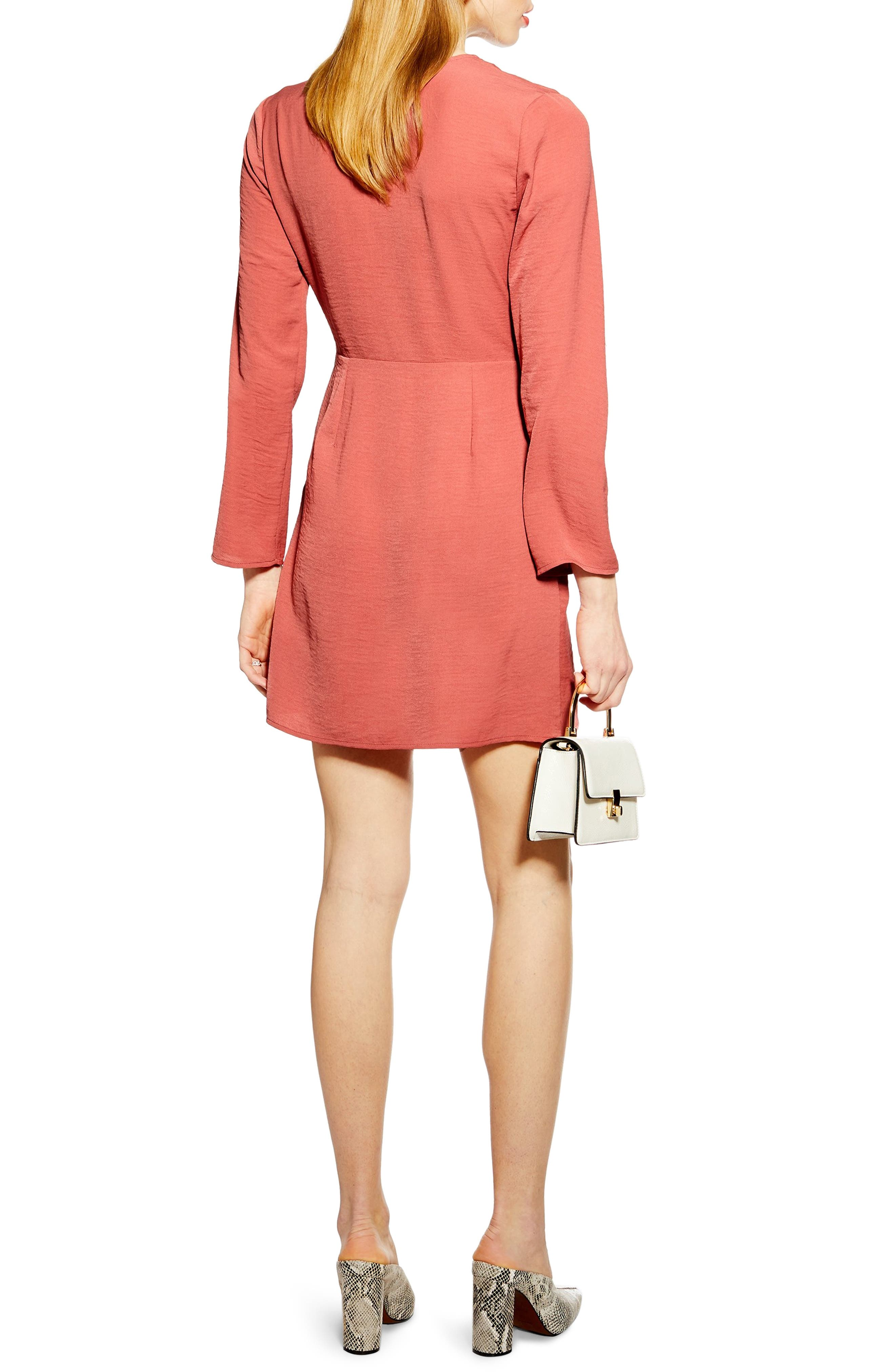TOPSHOP, Tortoise Ring Minidress, Alternate thumbnail 2, color, DUSTY PINK