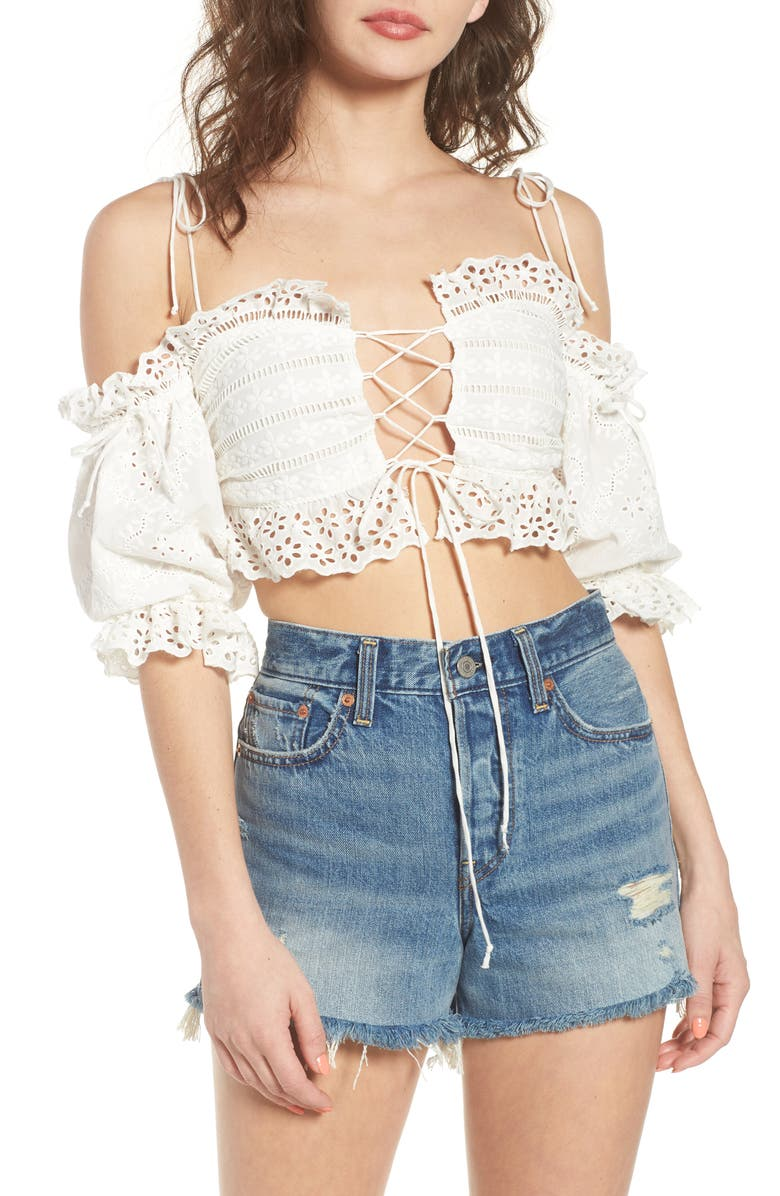3369cb6146836 For Love   Lemons Anabelle Eyelet Crop Top