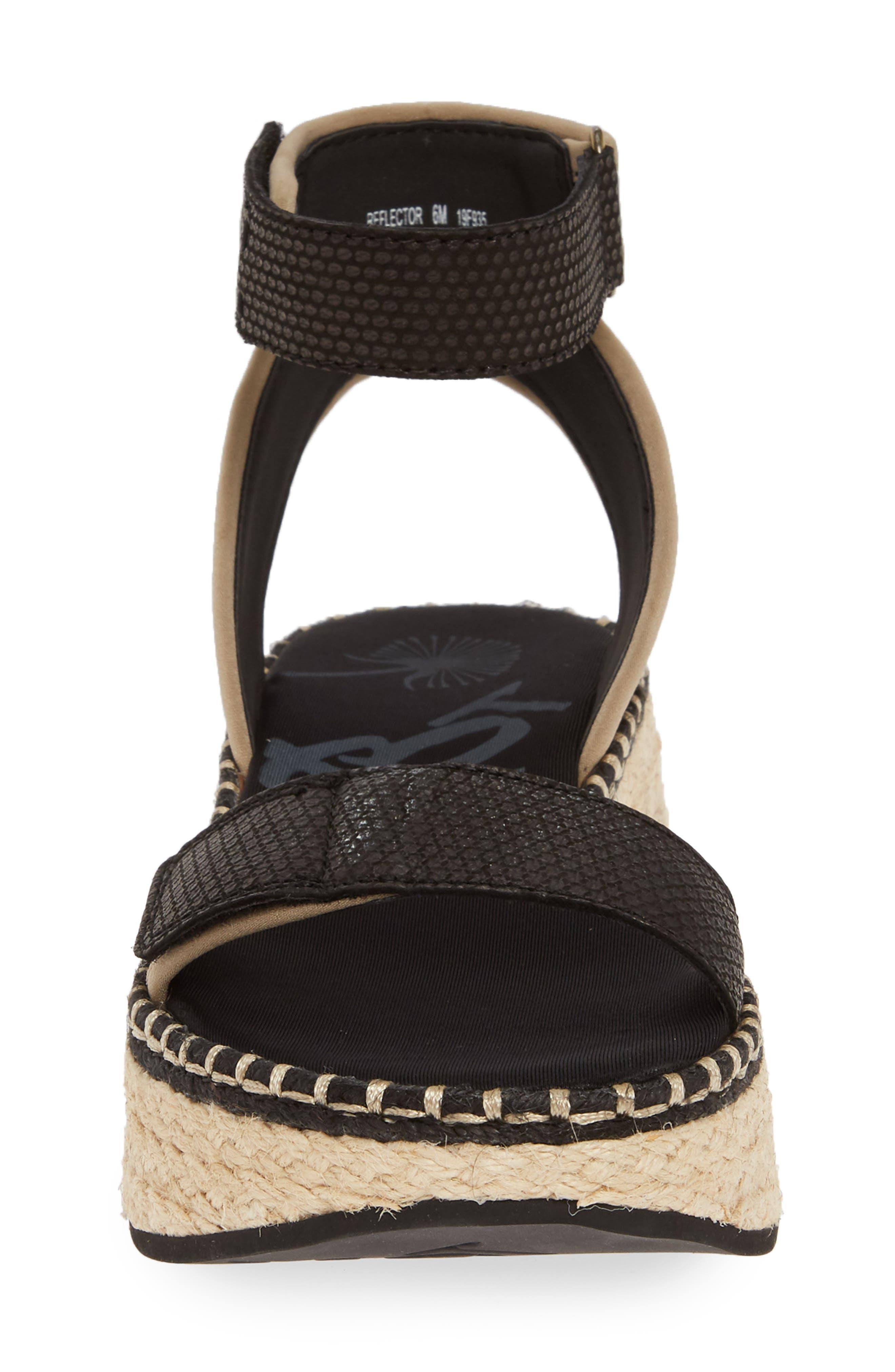 OTBT, Reflector Espadrille Platform Sandal, Alternate thumbnail 4, color, BLACK FABRIC