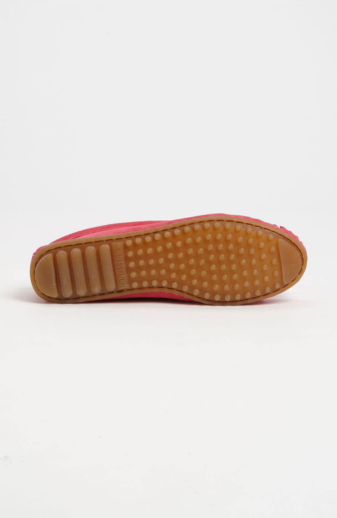 MINNETONKA, 'Kilty' Suede Moccasin, Alternate thumbnail 4, color, PINK