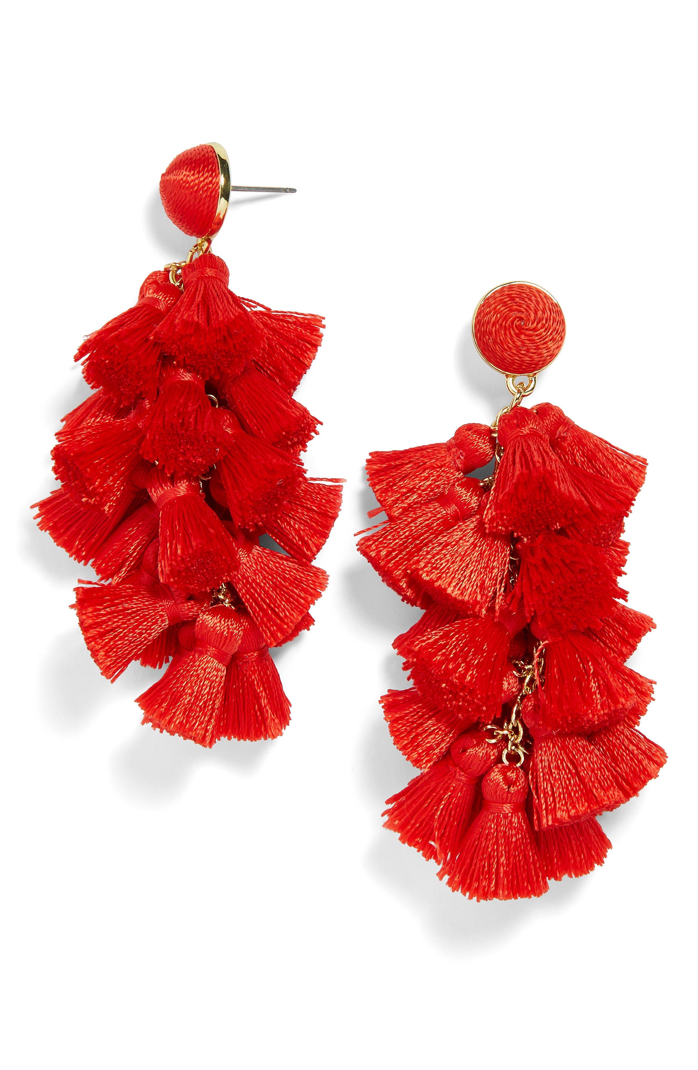BAUBLEBAR Contessa Tassel Earrings, Main, color, RED