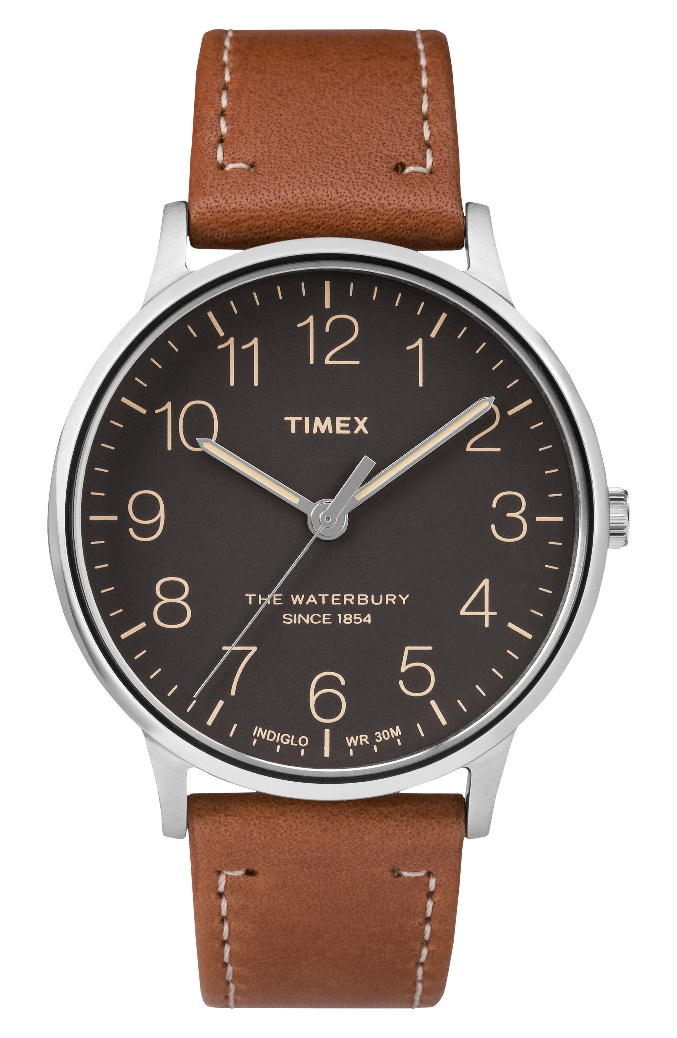 TIMEX<SUP>®</SUP>, Waterbury Leather Strap Watch, 40mm, Main thumbnail 1, color, TAN/ BLACK/ SILVER