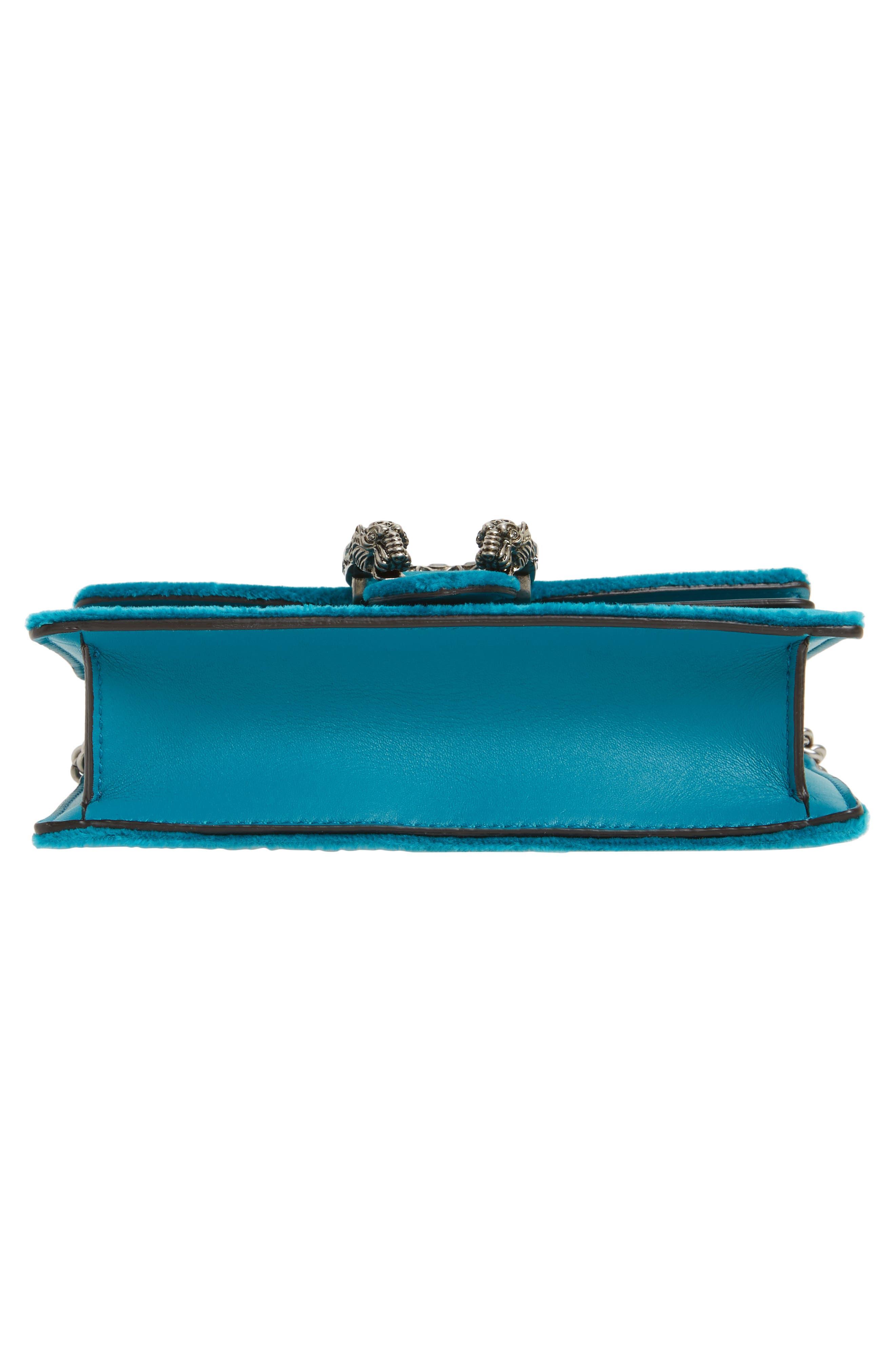 GUCCI, Super Mini Dionysus Velvet Shoulder Bag, Alternate thumbnail 6, color, PIVONE