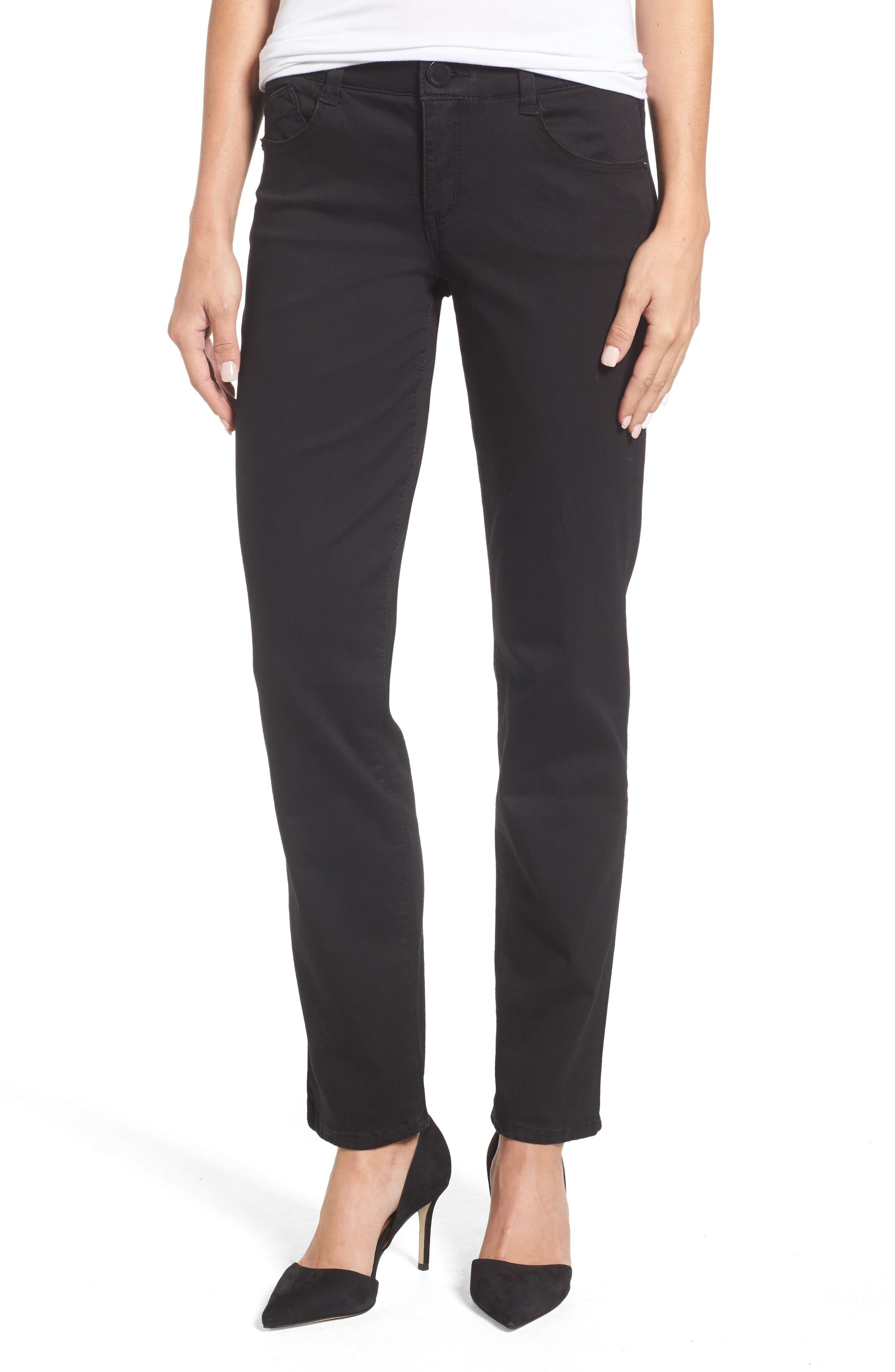 WIT & WISDOM, Ab-solution Straight Leg Jeans, Main thumbnail 1, color, BLACK