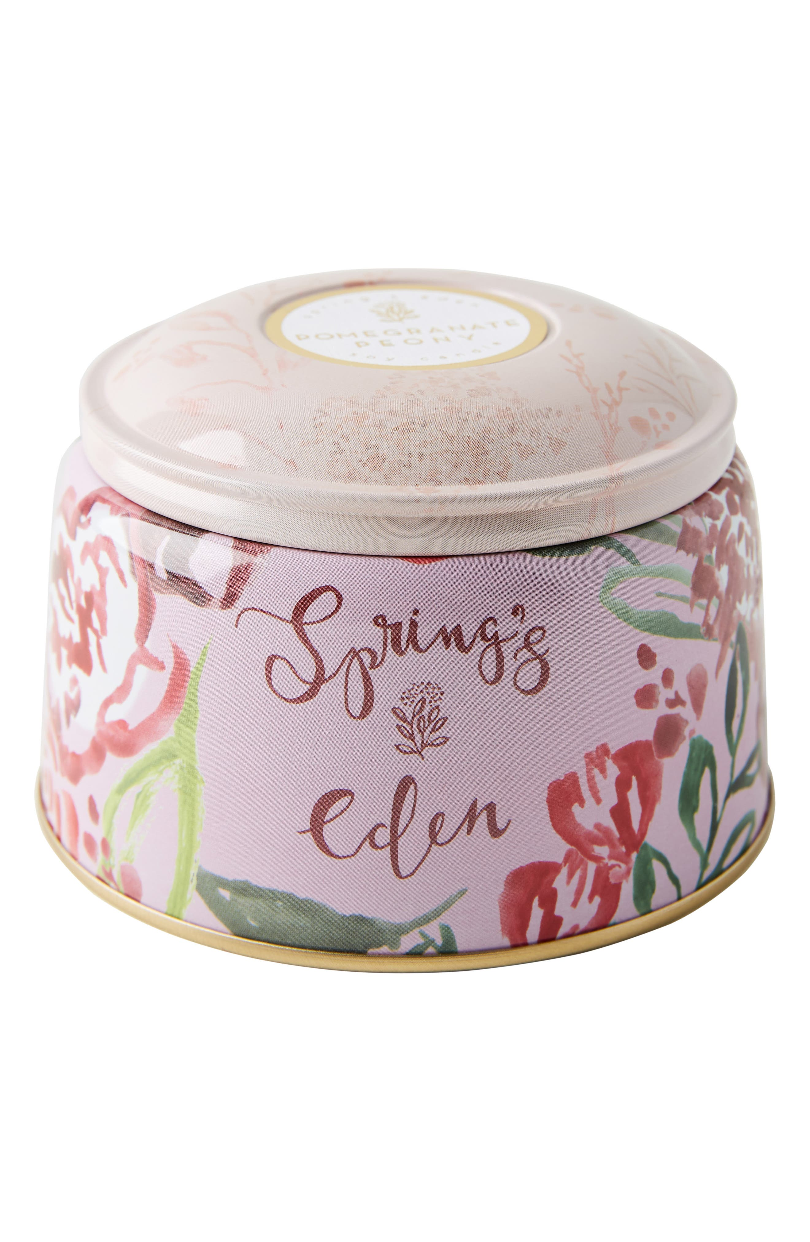 ANTHROPOLOGIE, Spring's Eden Tin Candle, Alternate thumbnail 3, color, POMEGRANATE PEONY