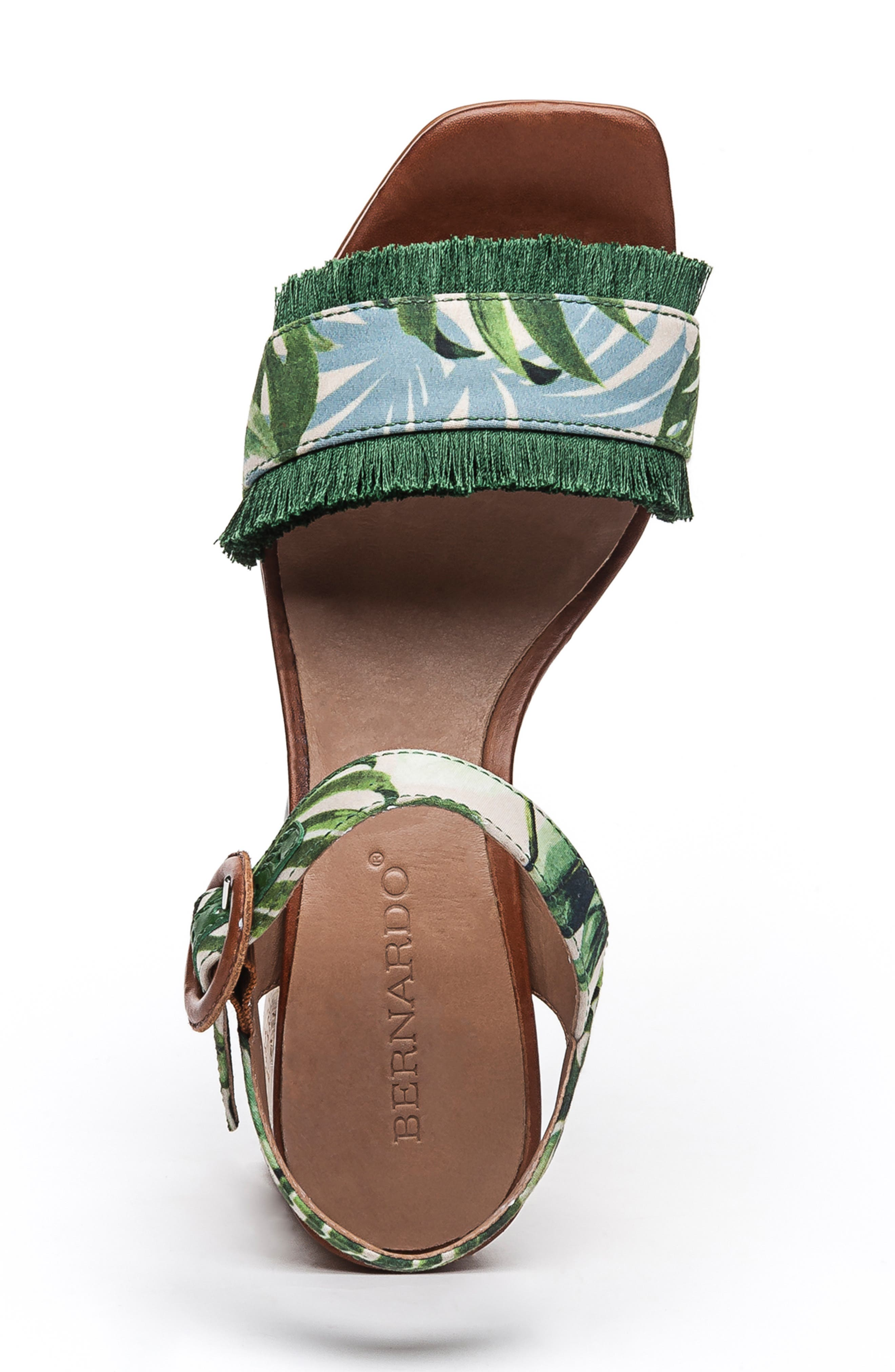 BERNARDO, Reagan Platform Sandal, Alternate thumbnail 5, color, PALM FABRIC