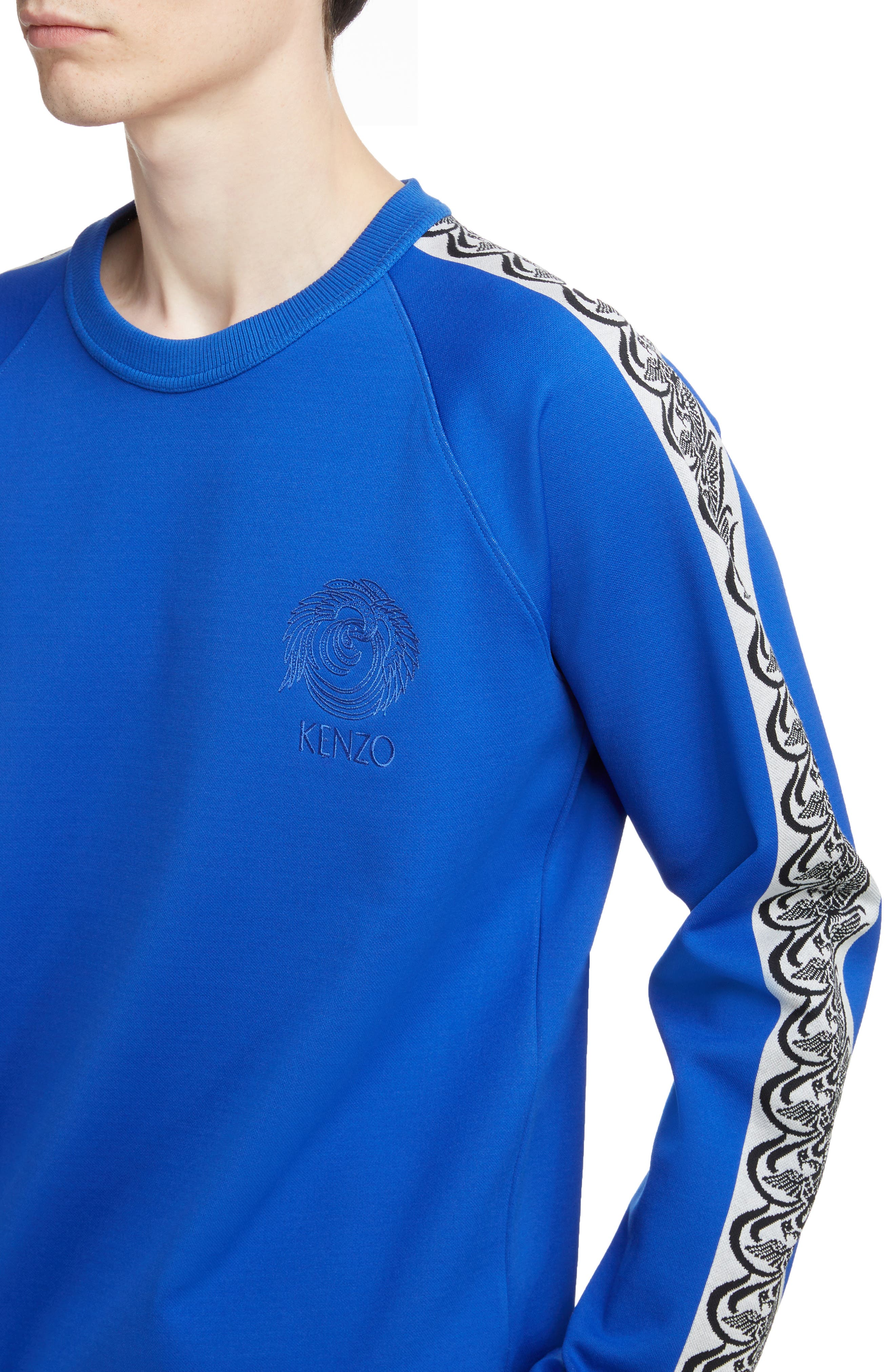 KENZO, Jacquard Raglan Sweatshirt, Alternate thumbnail 4, color, FRENCH BLUE