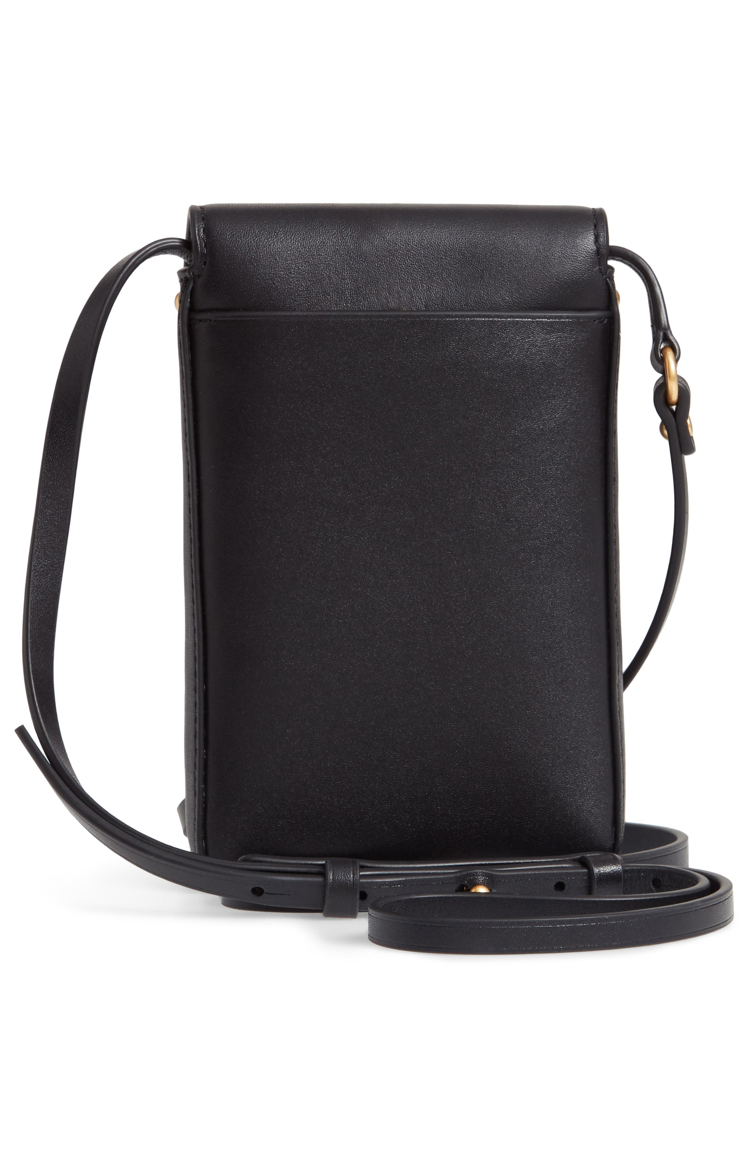 TORY BURCH, Miller Leather Phone Crossbody Bag, Alternate thumbnail 3, color, BLACK