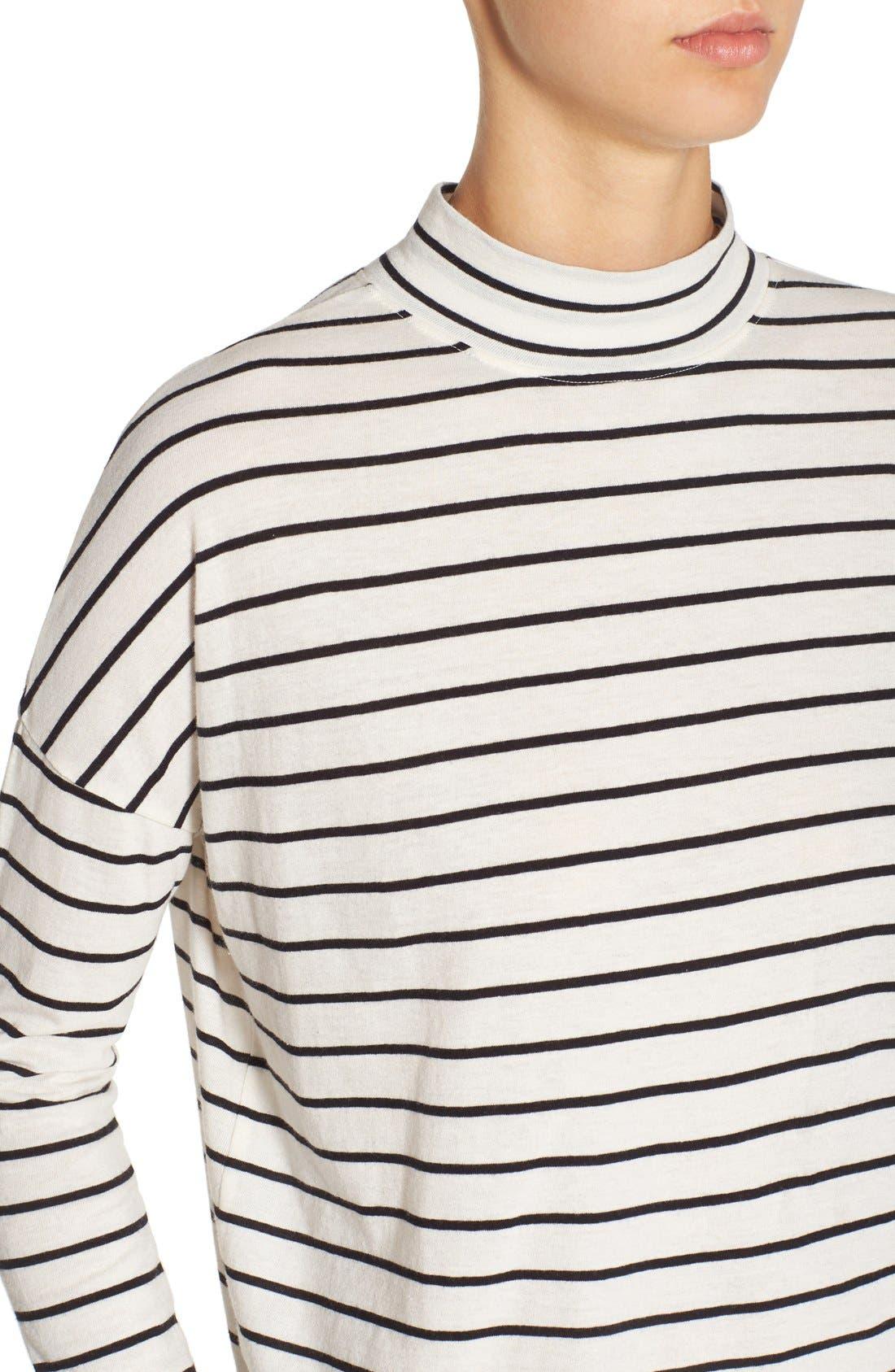 BP., Stripe Long Sleeve Mock Neck Tee, Alternate thumbnail 5, color, 900