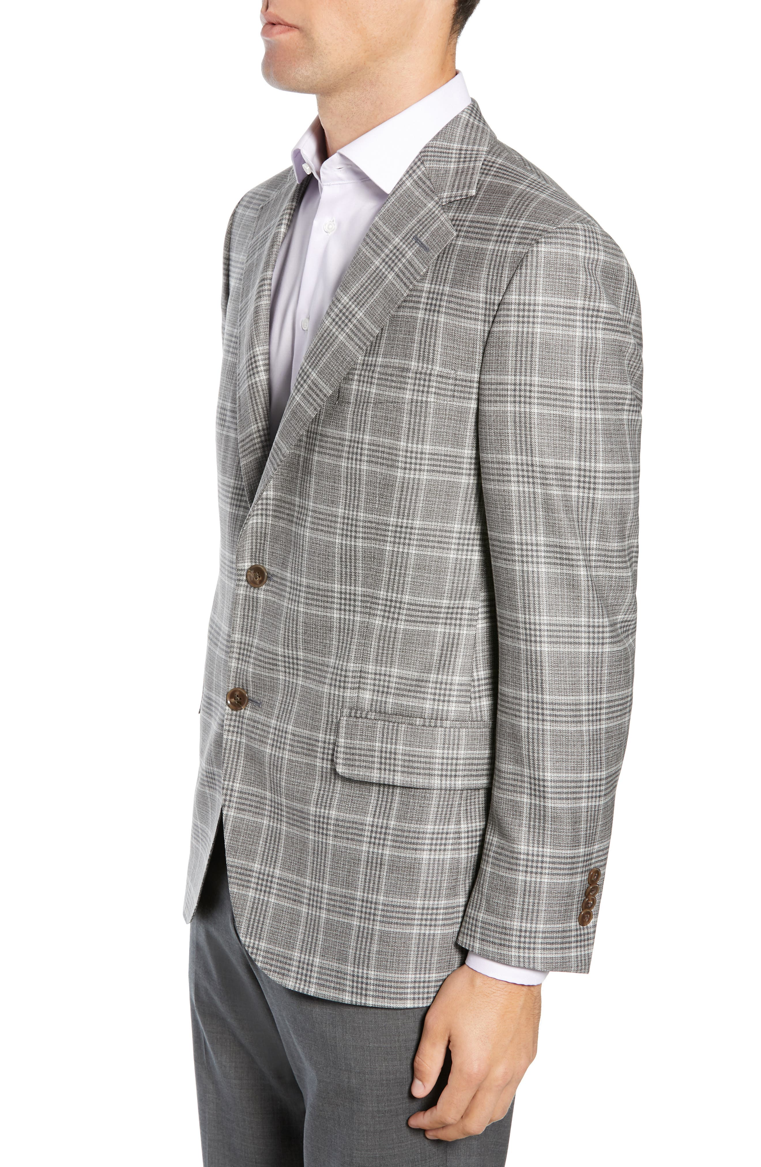 PETER MILLAR, Hyperlight Classic Fit Plaid Wool Sport Coat, Alternate thumbnail 3, color, GREY