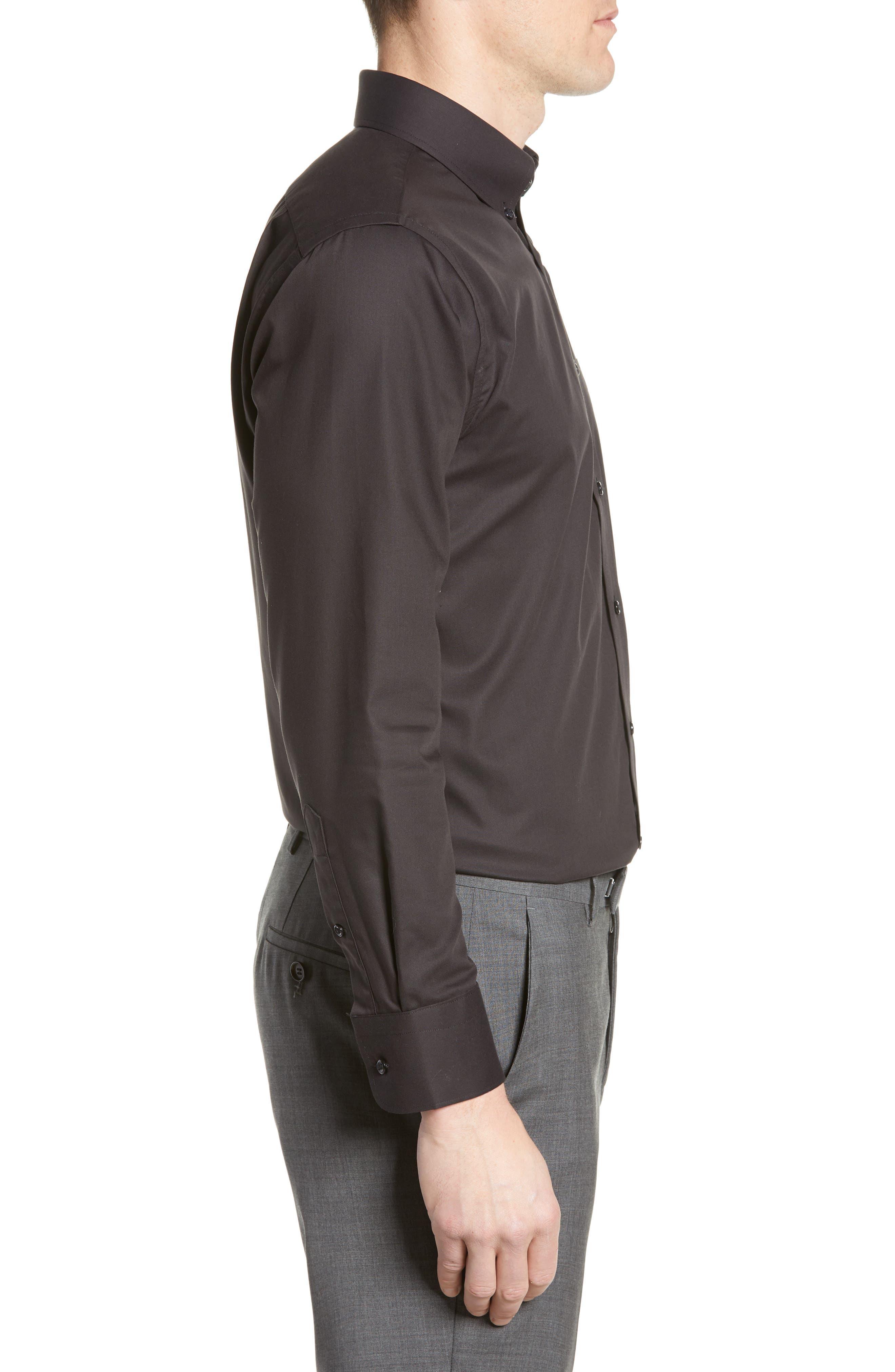 NORDSTROM MEN'S SHOP, Trim Fit Non-Iron Dress Shirt, Alternate thumbnail 4, color, BLACK
