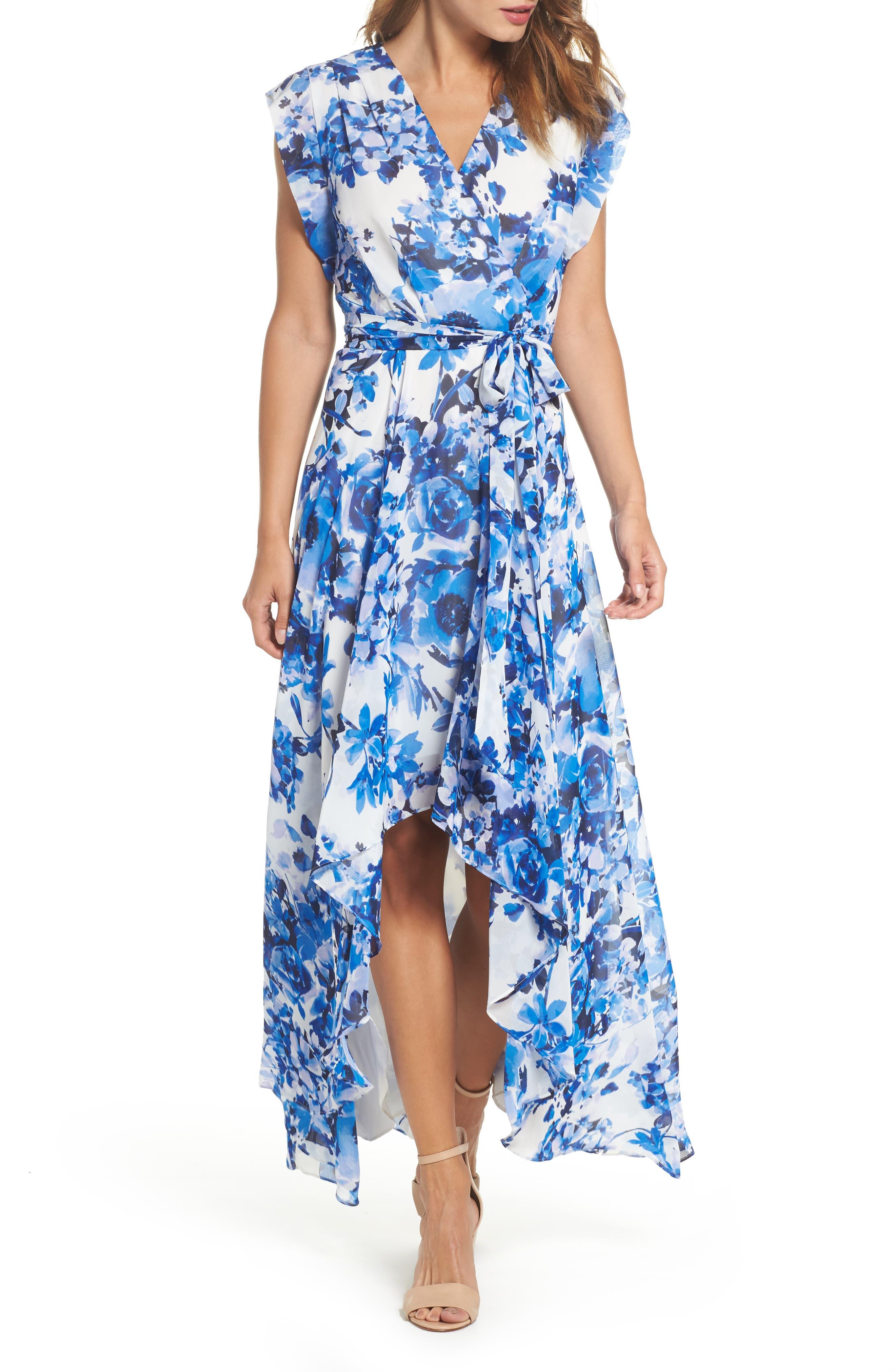 ELIZA J, Floral Ruffle High/Low Maxi Dress, Main thumbnail 1, color, BLUE