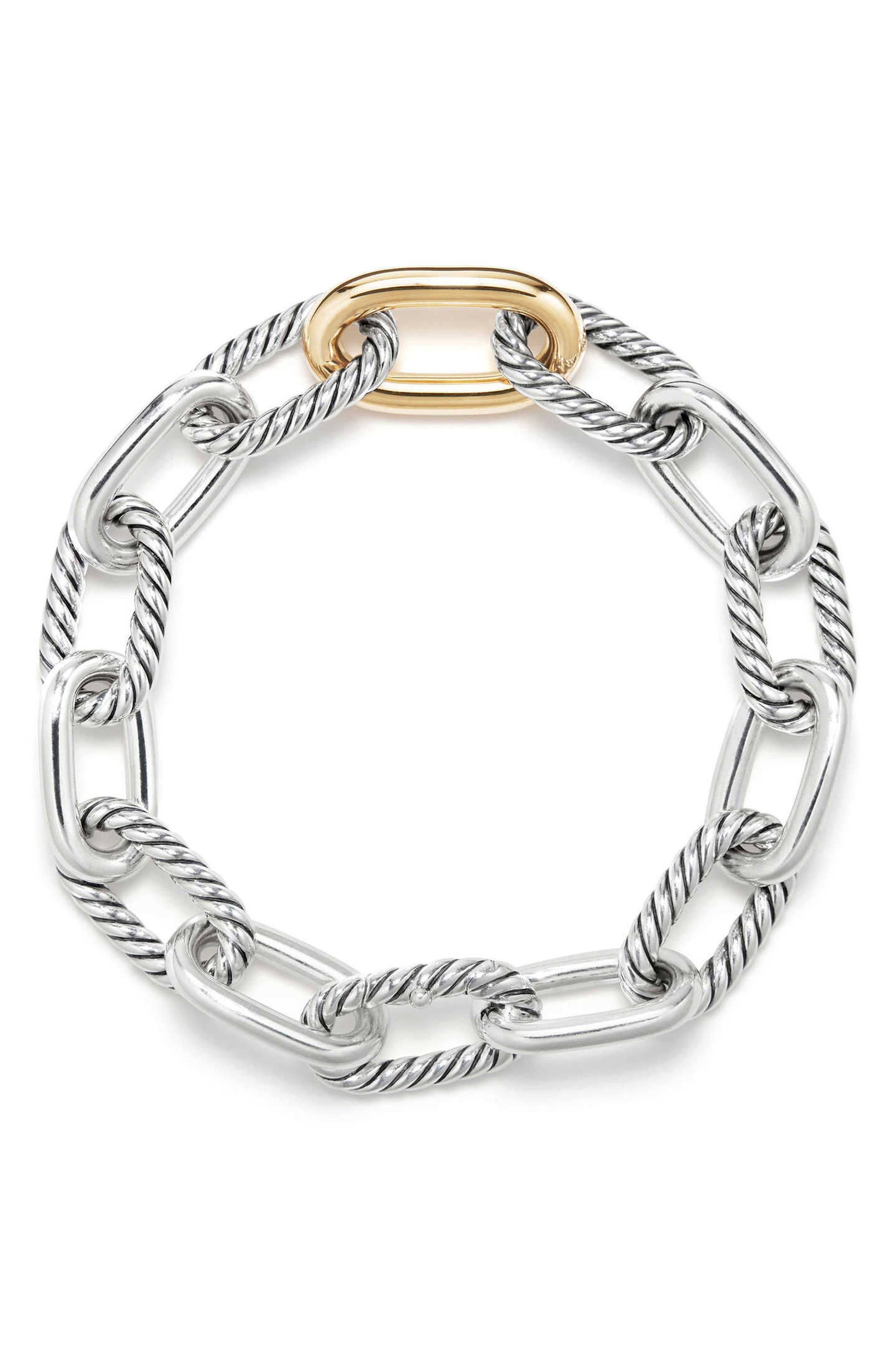 DAVID YURMAN, DY Madison Chain Medium Bracelet, Alternate thumbnail 2, color, GOLD/ SILVER