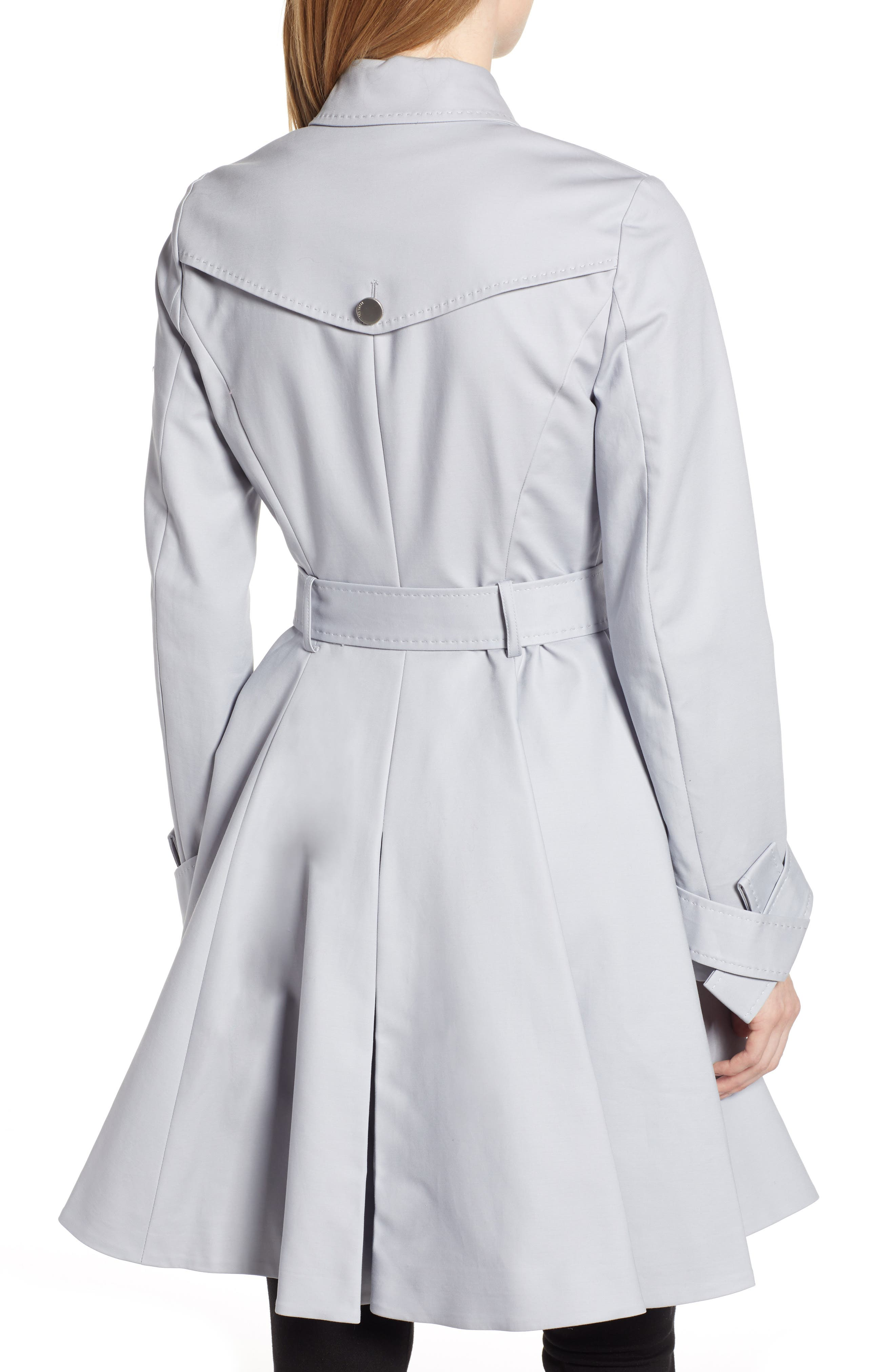 TED BAKER LONDON, Tie Cuff Detail Trench Coat, Alternate thumbnail 2, color, GREY