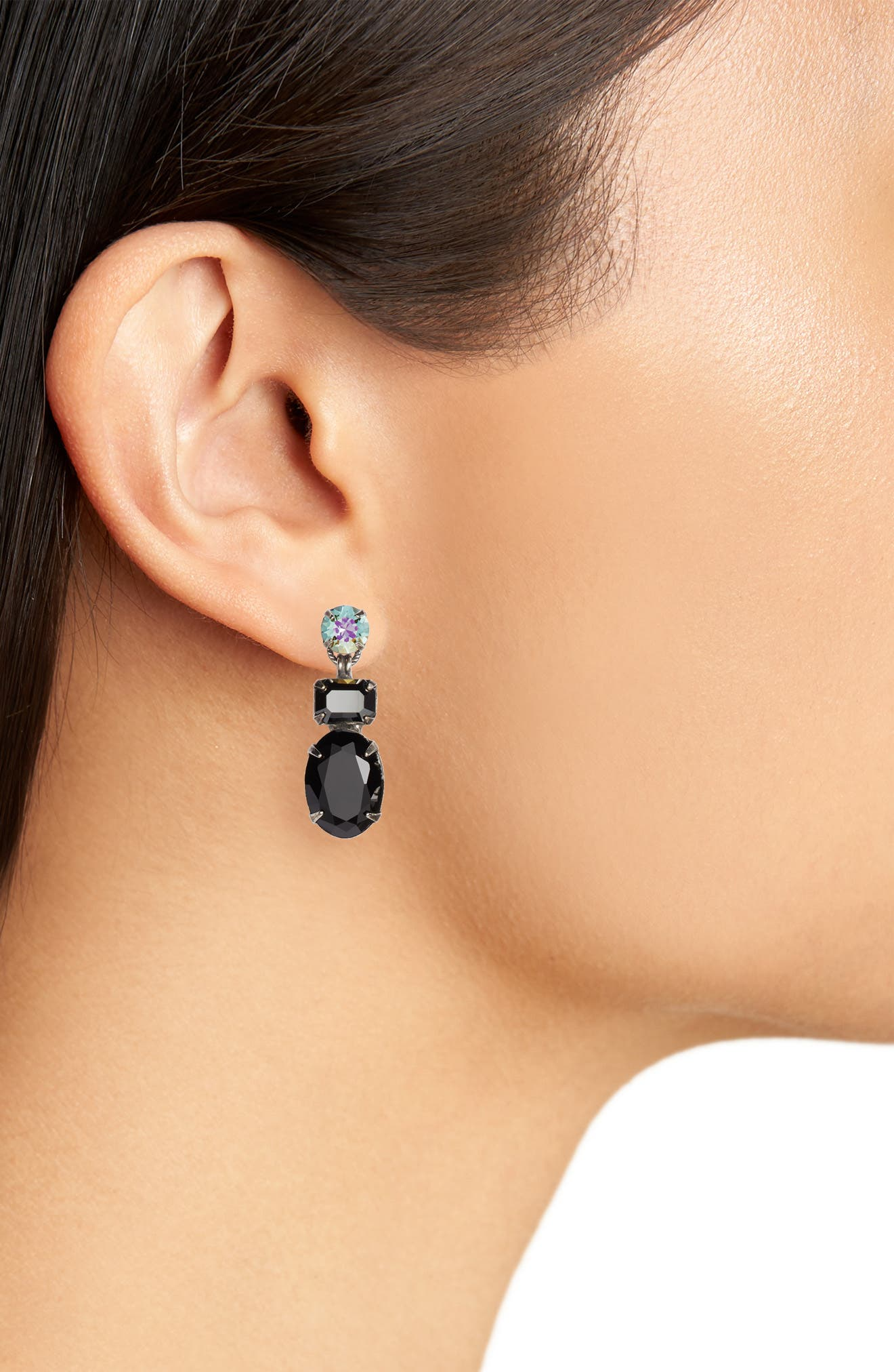 SORRELLI, Forget Me Not Crystal Drop Earrings, Alternate thumbnail 2, color, BLACK