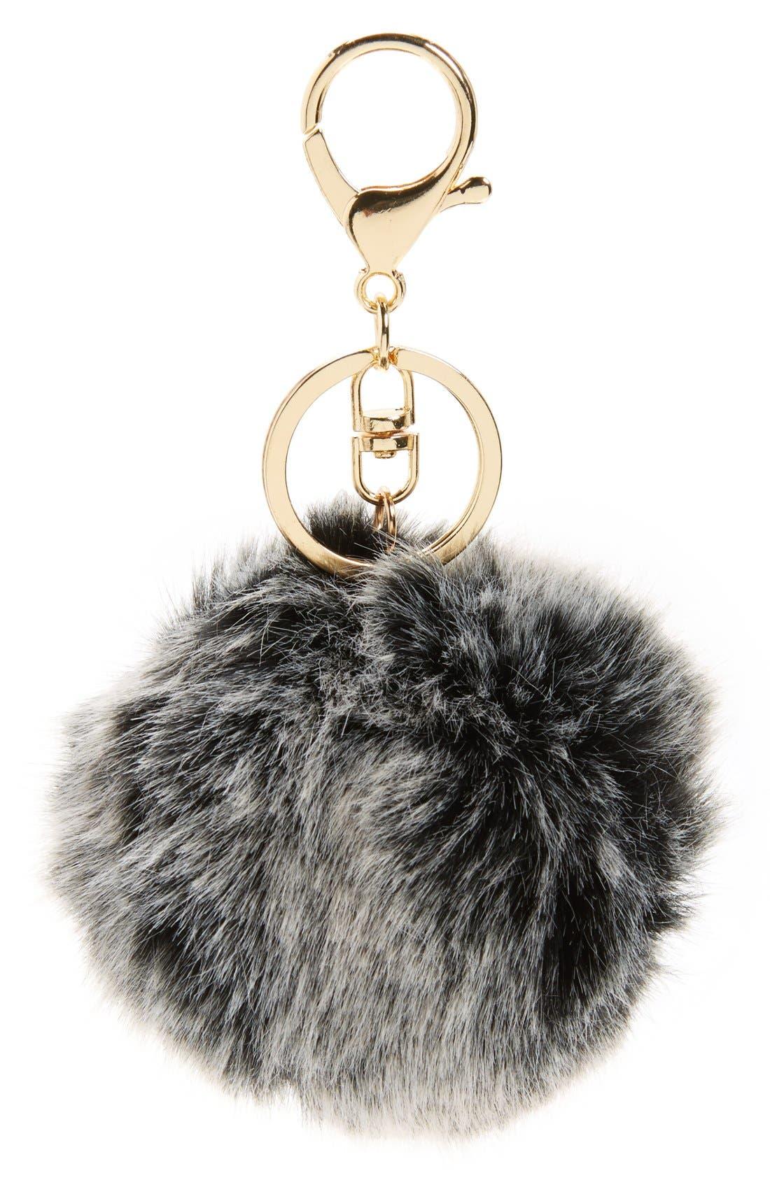 BP. Faux Fur Pom Bag Charm, Main, color, 001
