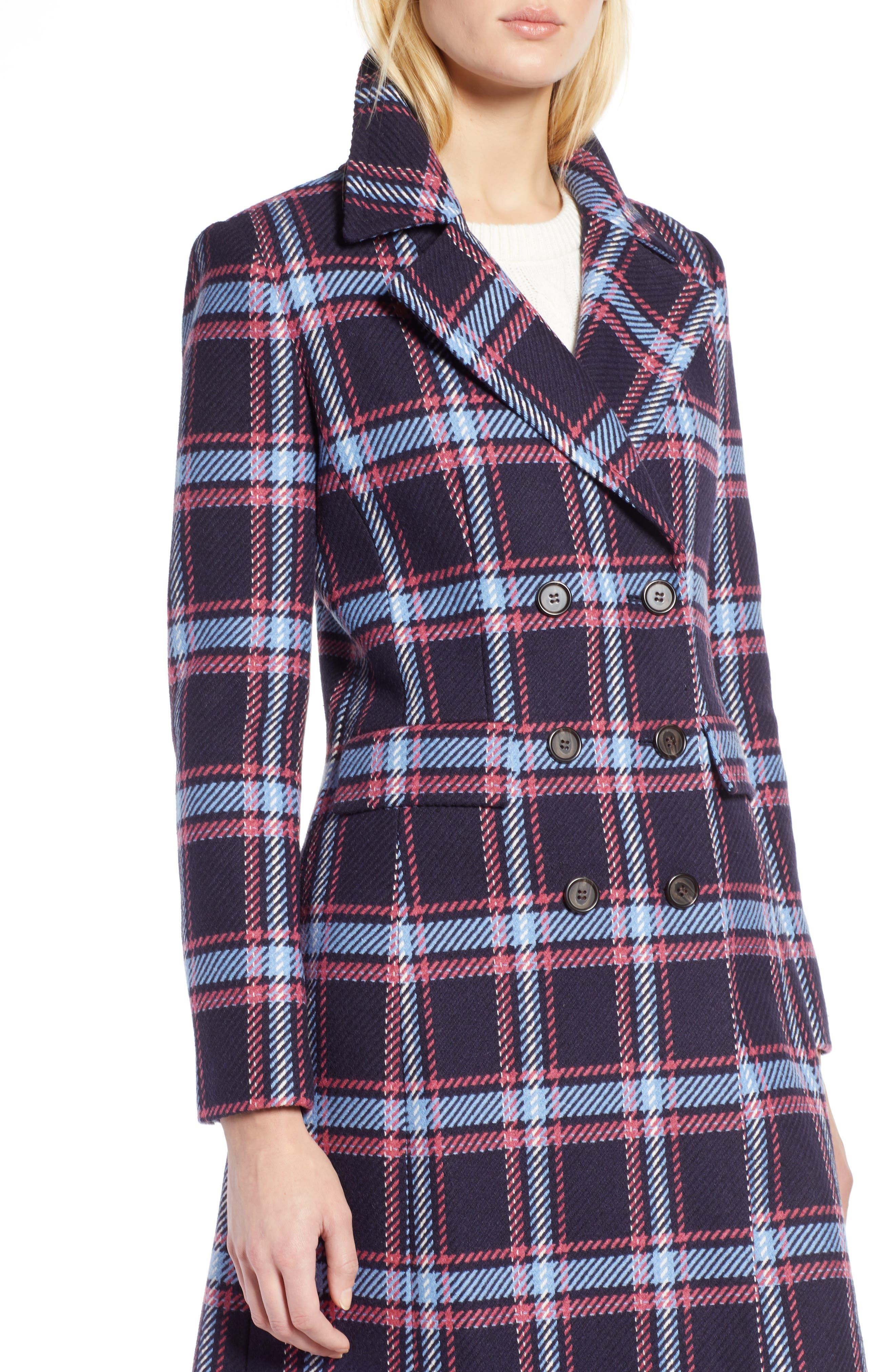 HALOGEN<SUP>®</SUP>, x Atlantic-Pacific Long Plaid Coat, Alternate thumbnail 6, color, 410