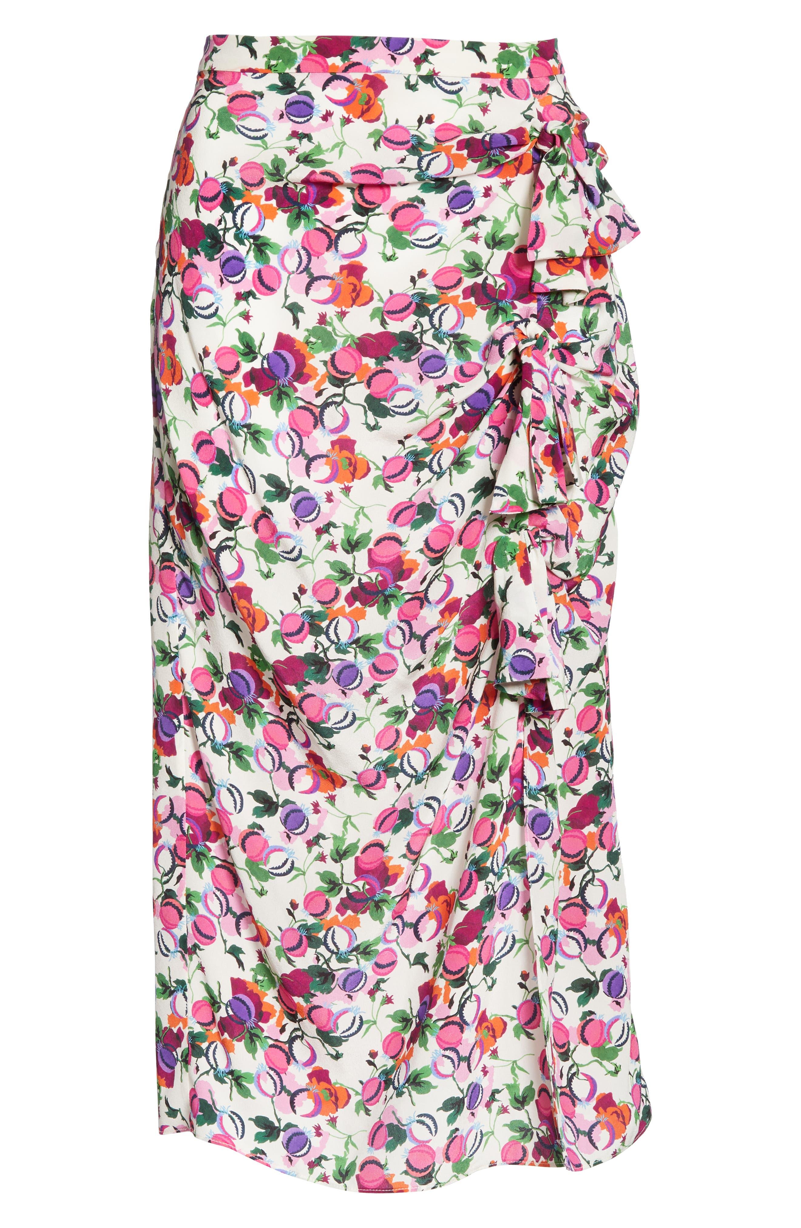 SALONI, Kelly Floral Print Silk Skirt, Alternate thumbnail 6, color, ROSE BOUNTY