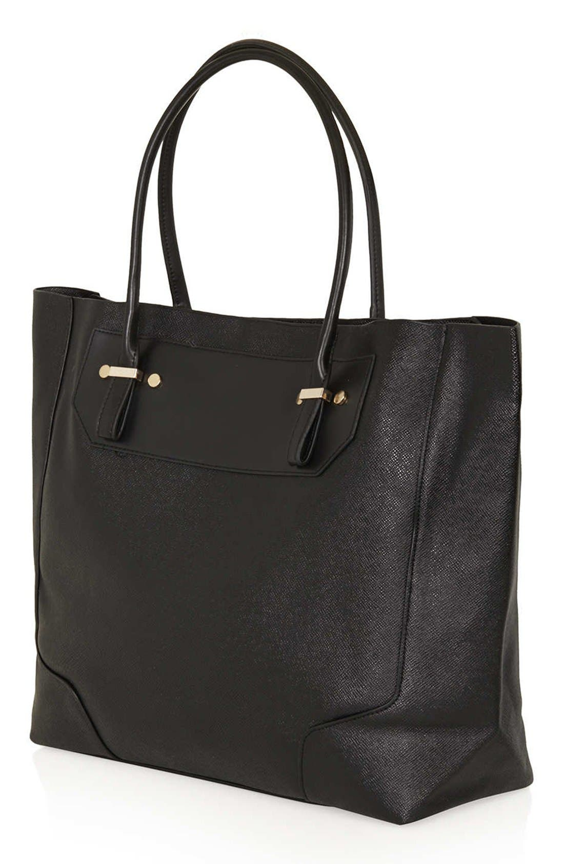 TOPSHOP, Faux Leather Tote, Alternate thumbnail 2, color, 001