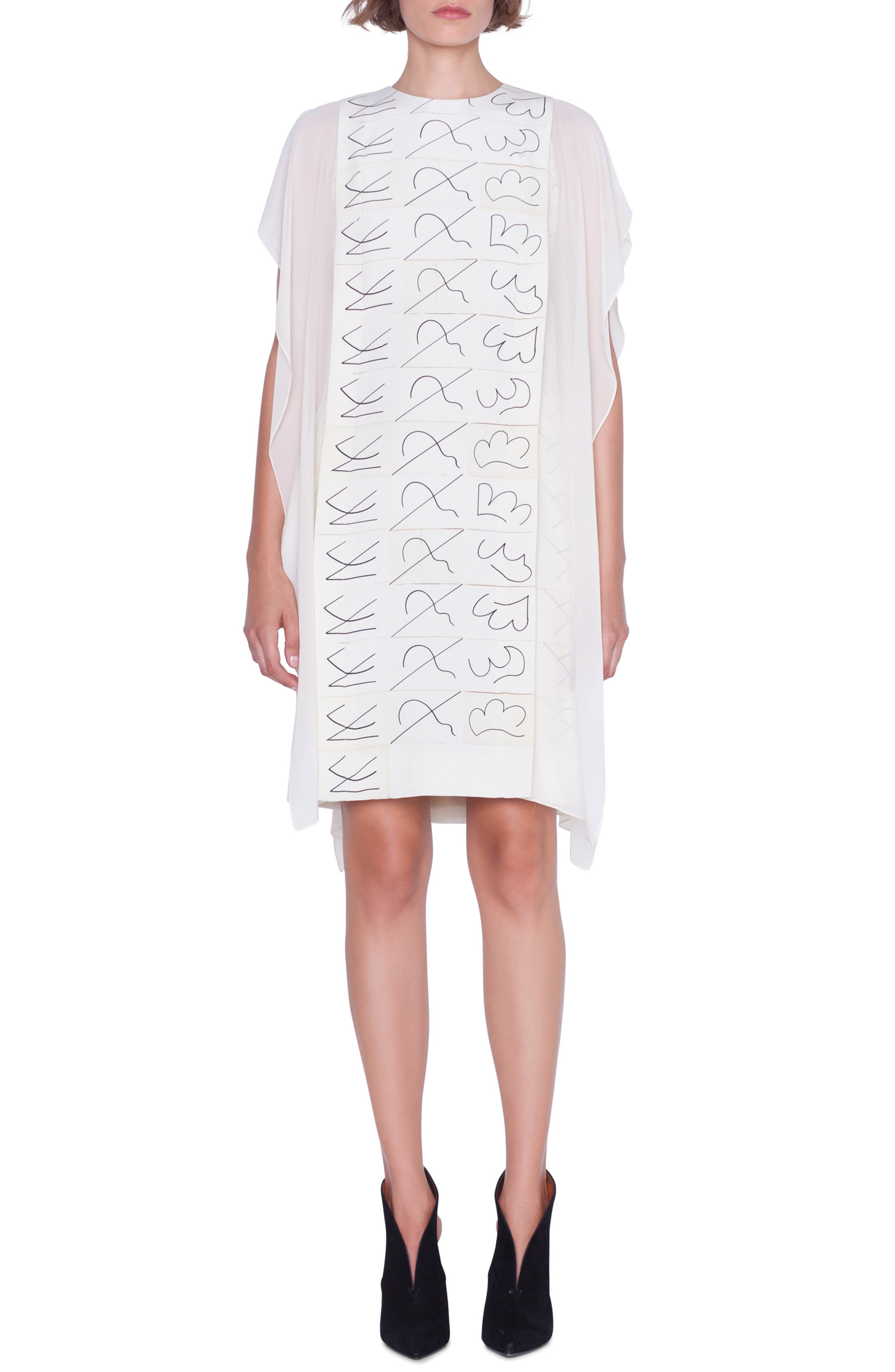 AKRIS, Leporello Print Cold Shoulder Silk Dress, Main thumbnail 1, color, PAPER