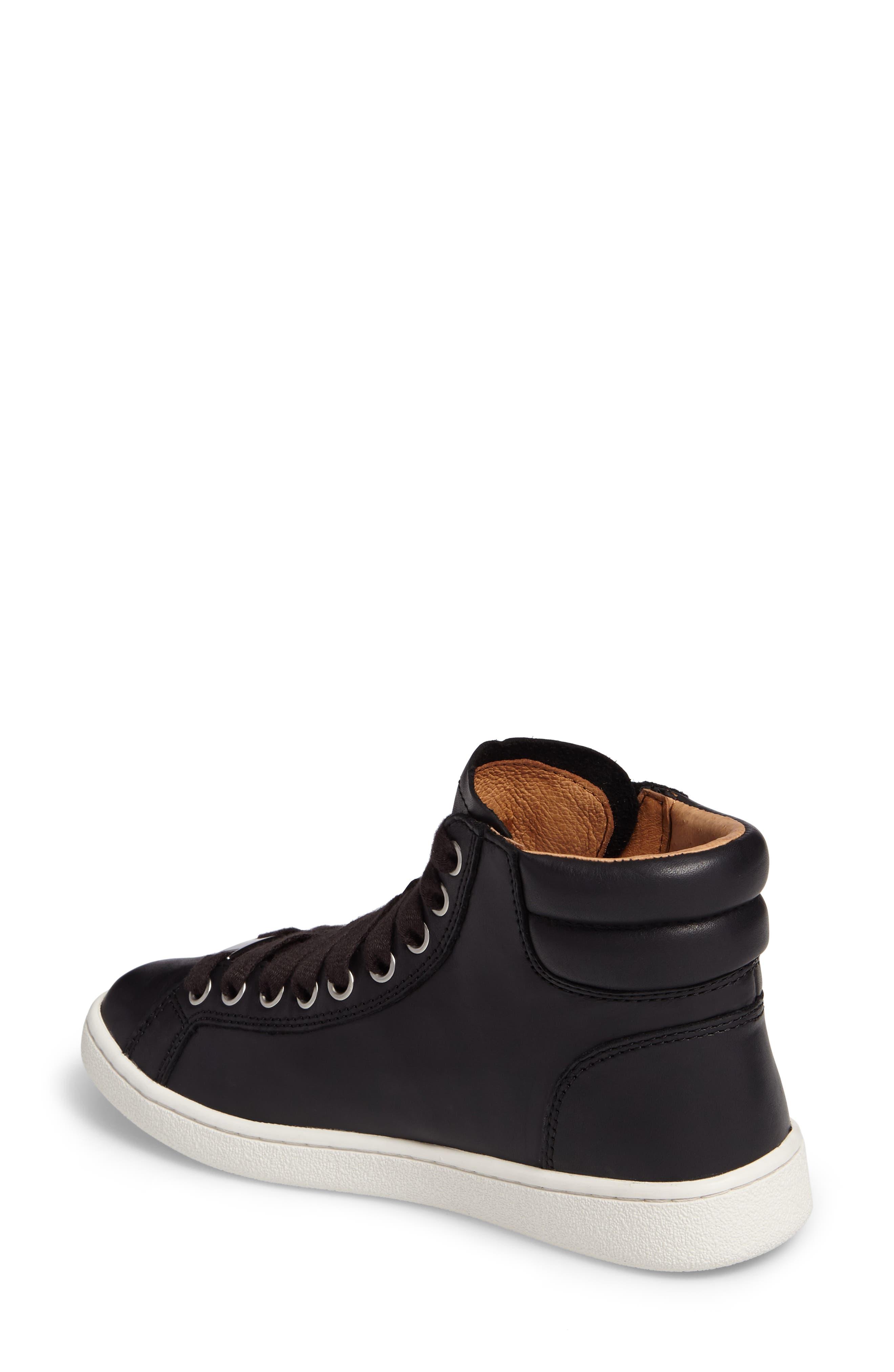 UGG<SUP>®</SUP>, UGG Olive High Top Sneaker, Alternate thumbnail 2, color, BLACK LEATHER