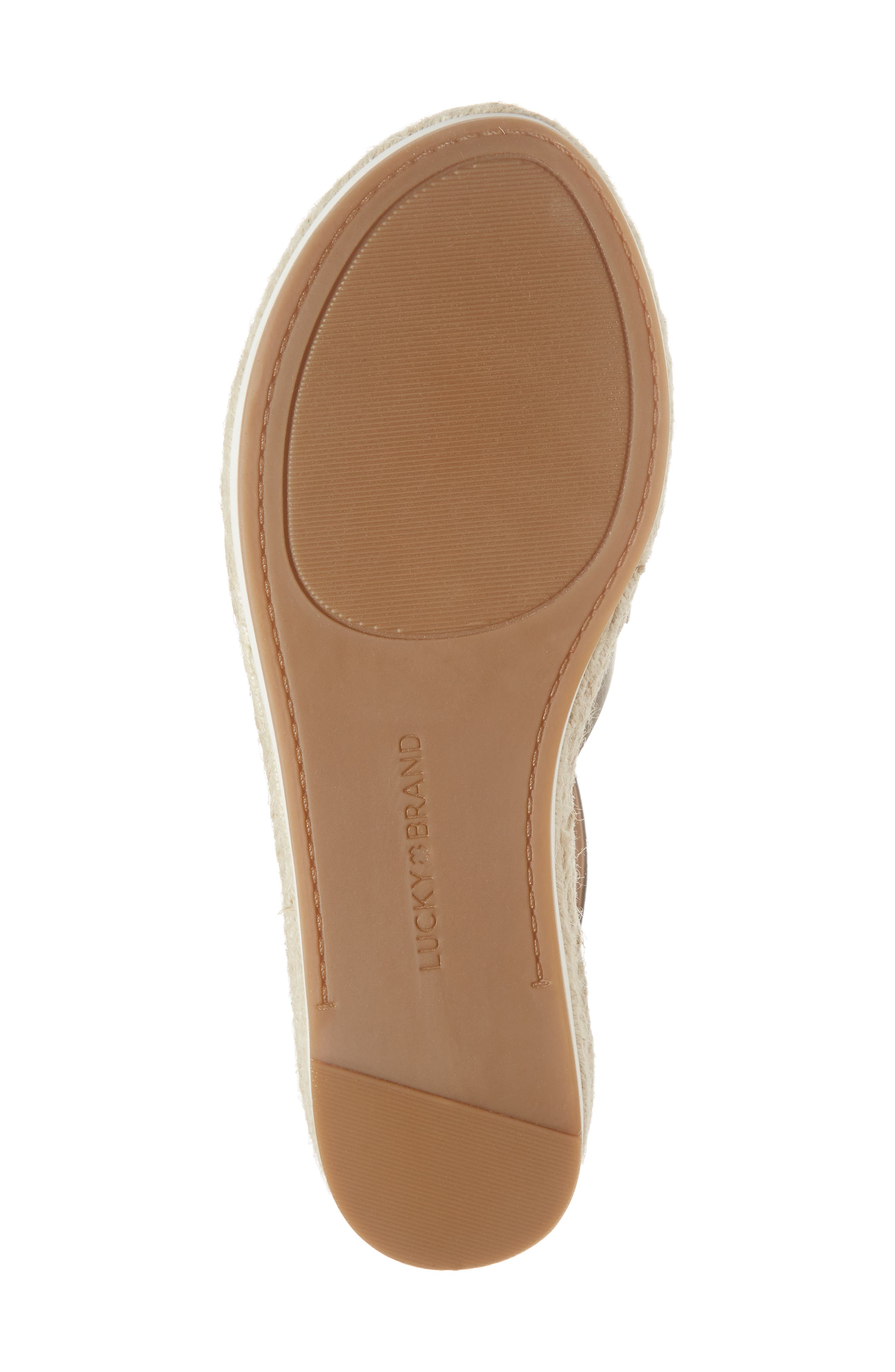 LUCKY BRAND, Jenepper Platform Wedge Sandal, Alternate thumbnail 6, color, DRAB LEATHER