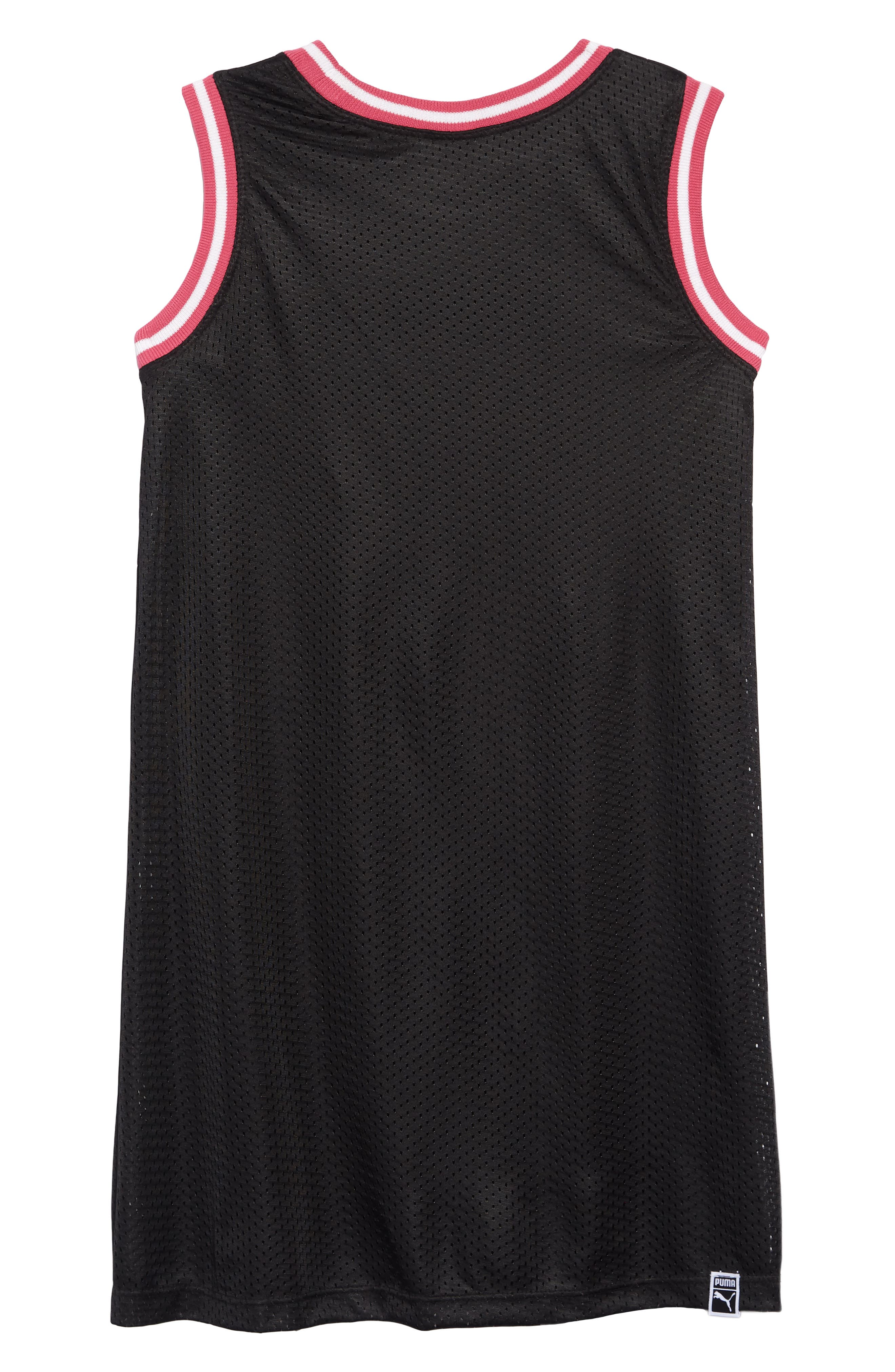 PUMA, Logo Mesh T-Shirt Dress, Alternate thumbnail 2, color, PUMA BLACK