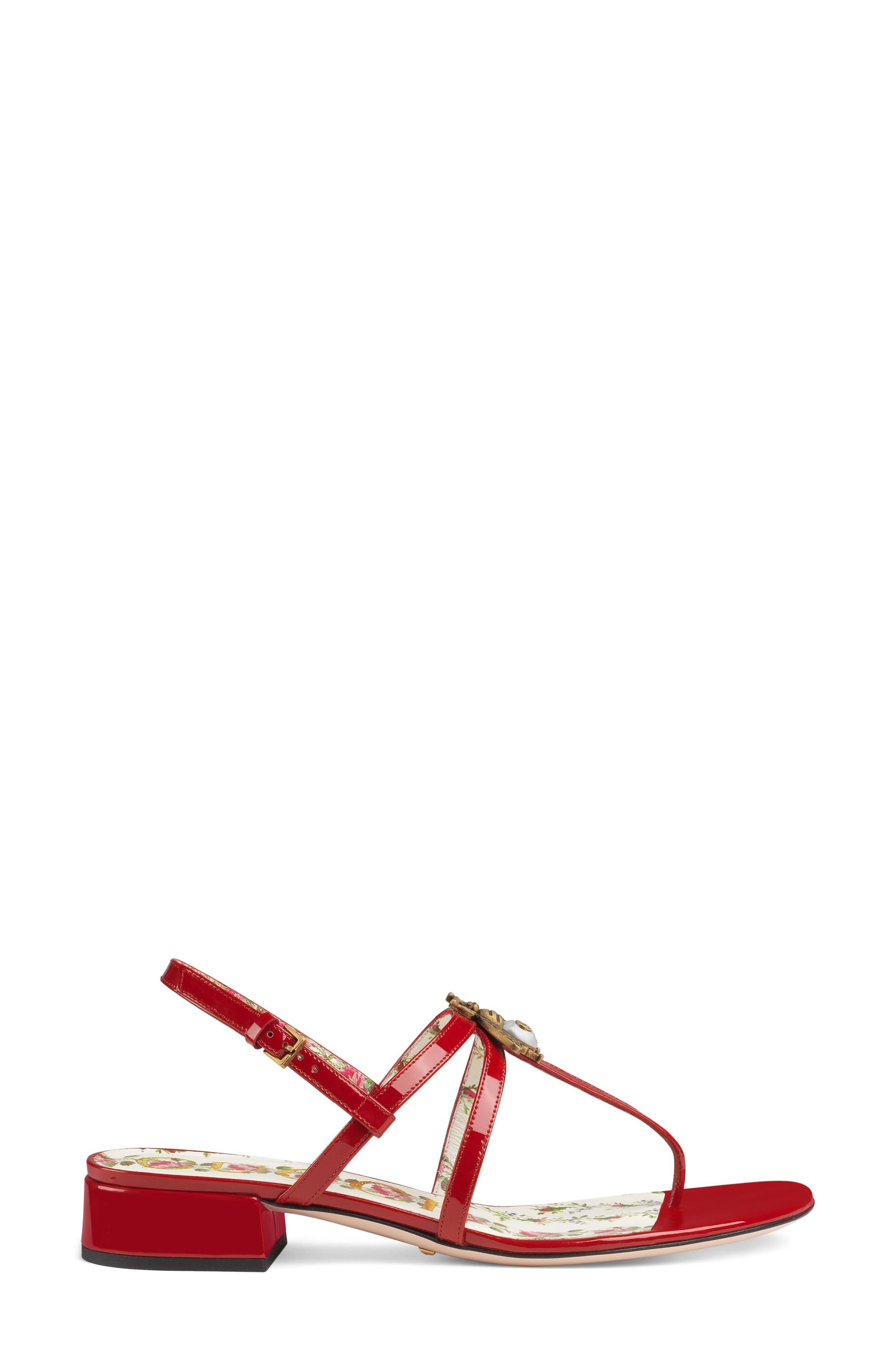 GUCCI, Bee Thong Sandal, Alternate thumbnail 2, color, HIBISCUS RED