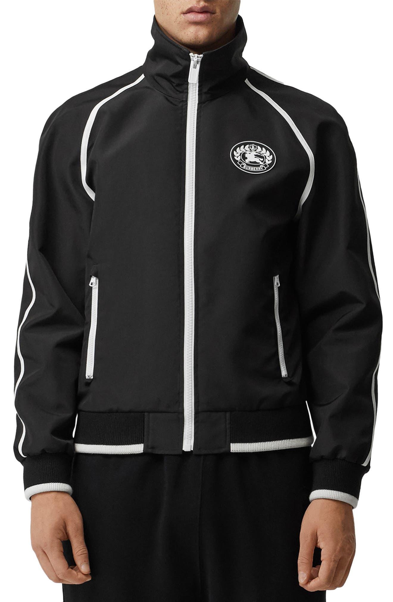 BURBERRY, Northfield Nylon Track Jacket, Main thumbnail 1, color, BLACK