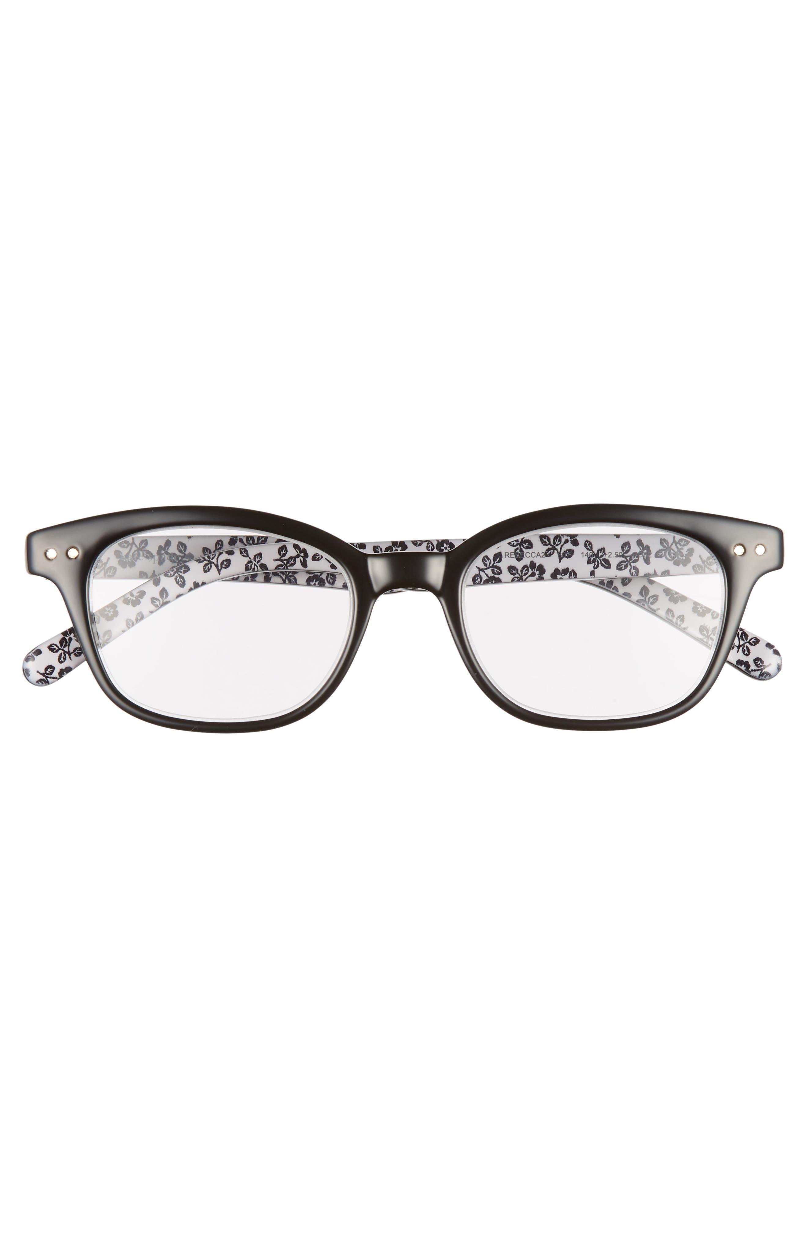 KATE SPADE NEW YORK, rebecca 47mm reading glasses, Alternate thumbnail 3, color, BLACK