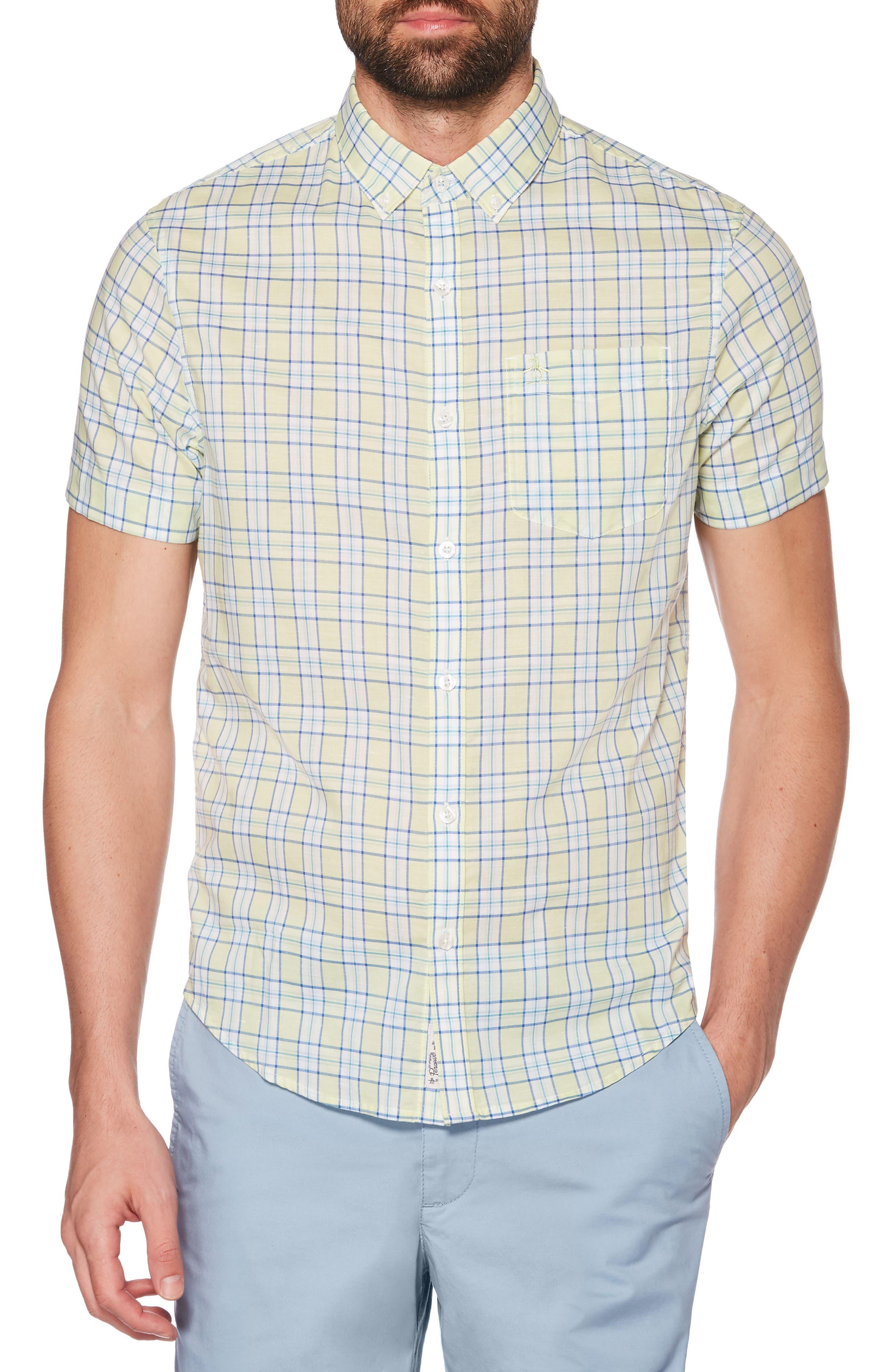 ORIGINAL PENGUIN, Heritage Slim Fit Stretch Plaid Shirt, Main thumbnail 1, color, BUTTERFLY