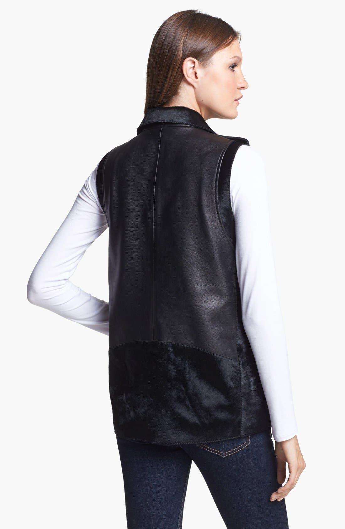 VEDA, Genuine Calf Hair & Leather Vest, Alternate thumbnail 5, color, 001