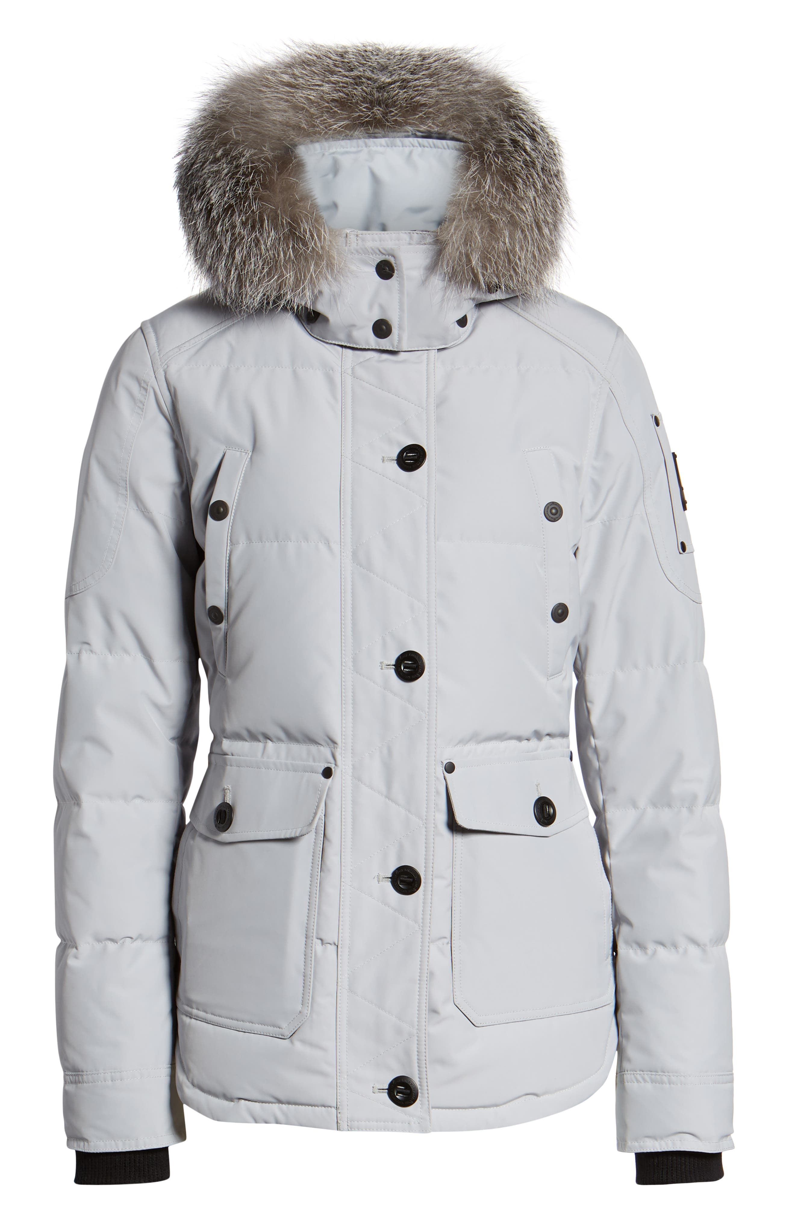 MOOSE KNUCKLES, Debaies Genuine Fox Fur Trim Down Jacket, Alternate thumbnail 6, color, GRAY BIRCH/ FROST FOX