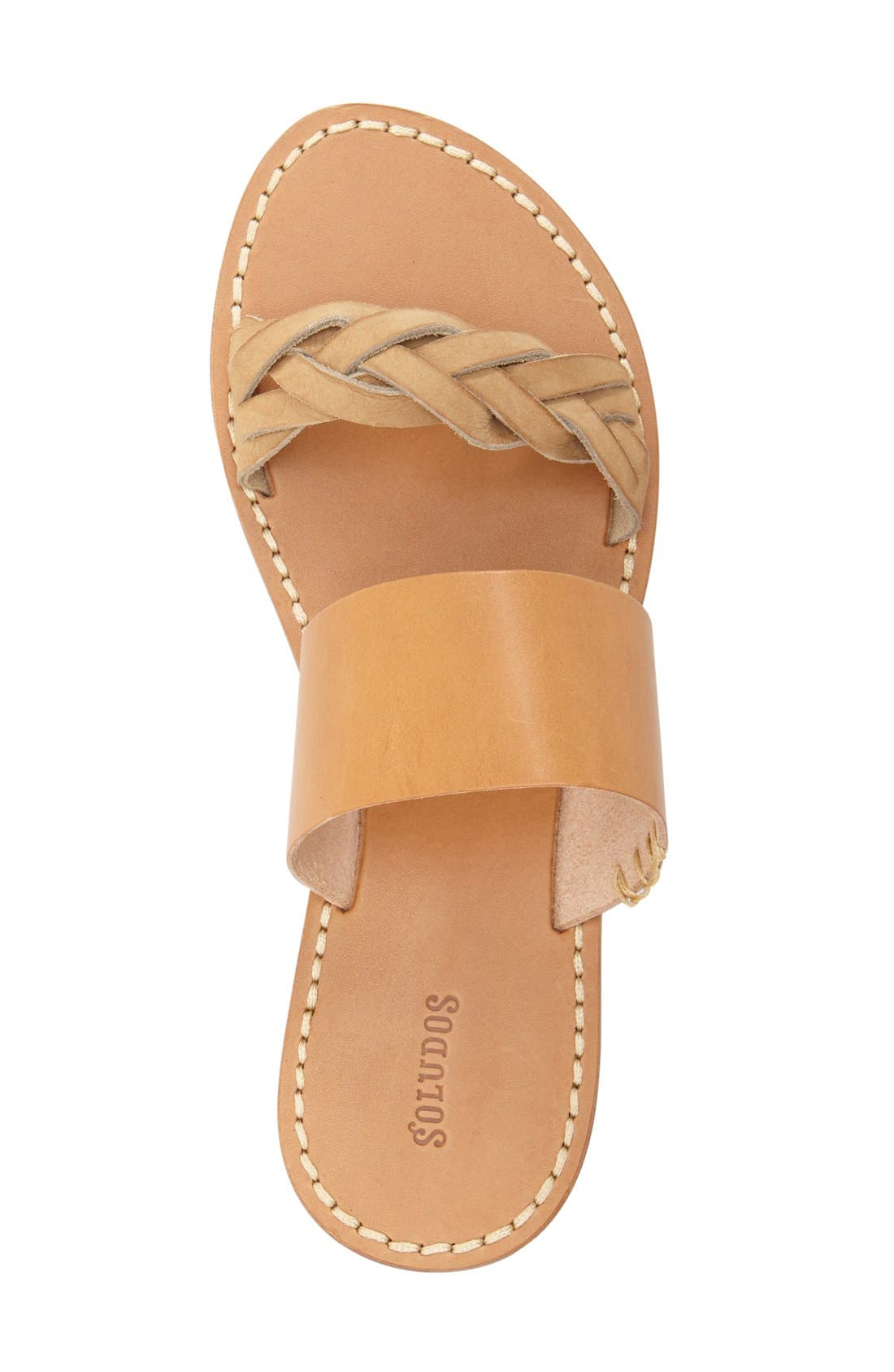 SOLUDOS, Slide Sandal, Alternate thumbnail 3, color, ACORN/ BROWN LEATHER