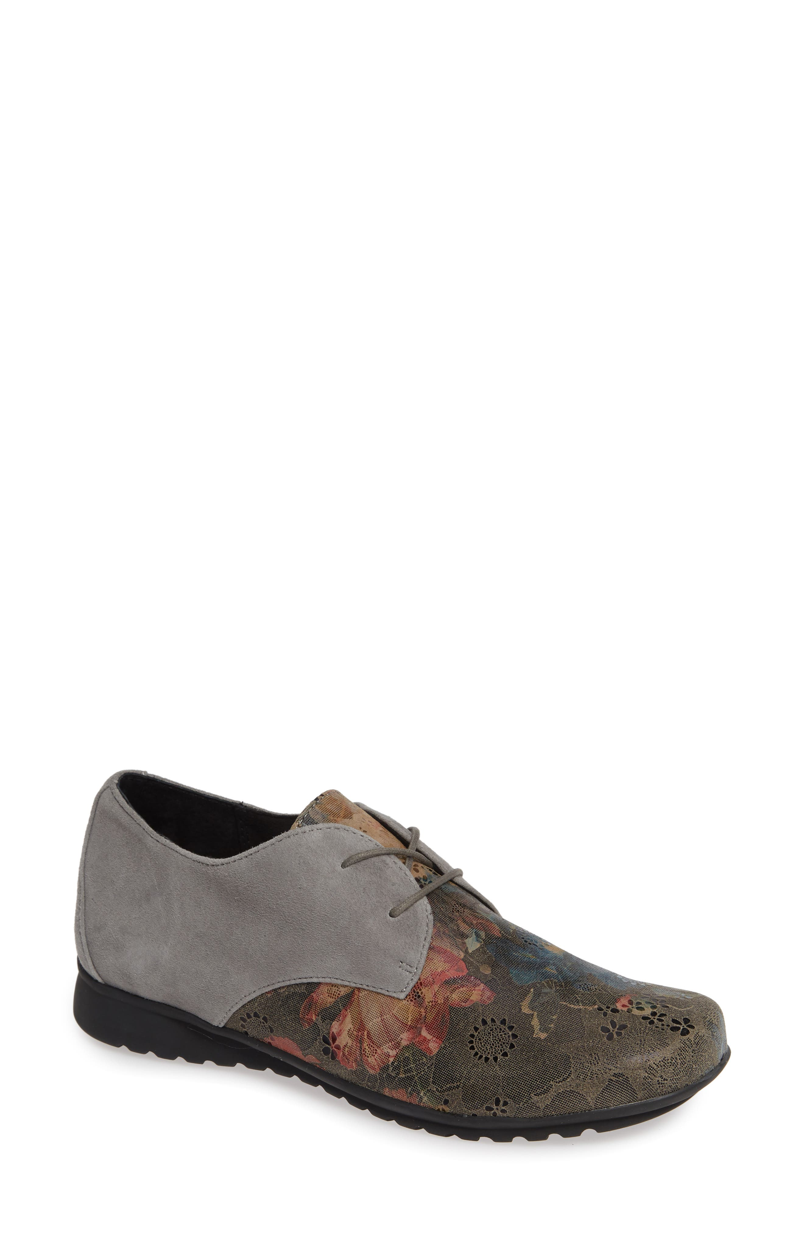 AETREX Erin Saddle Shoe, Main, color, CHARCOAL LEATHER