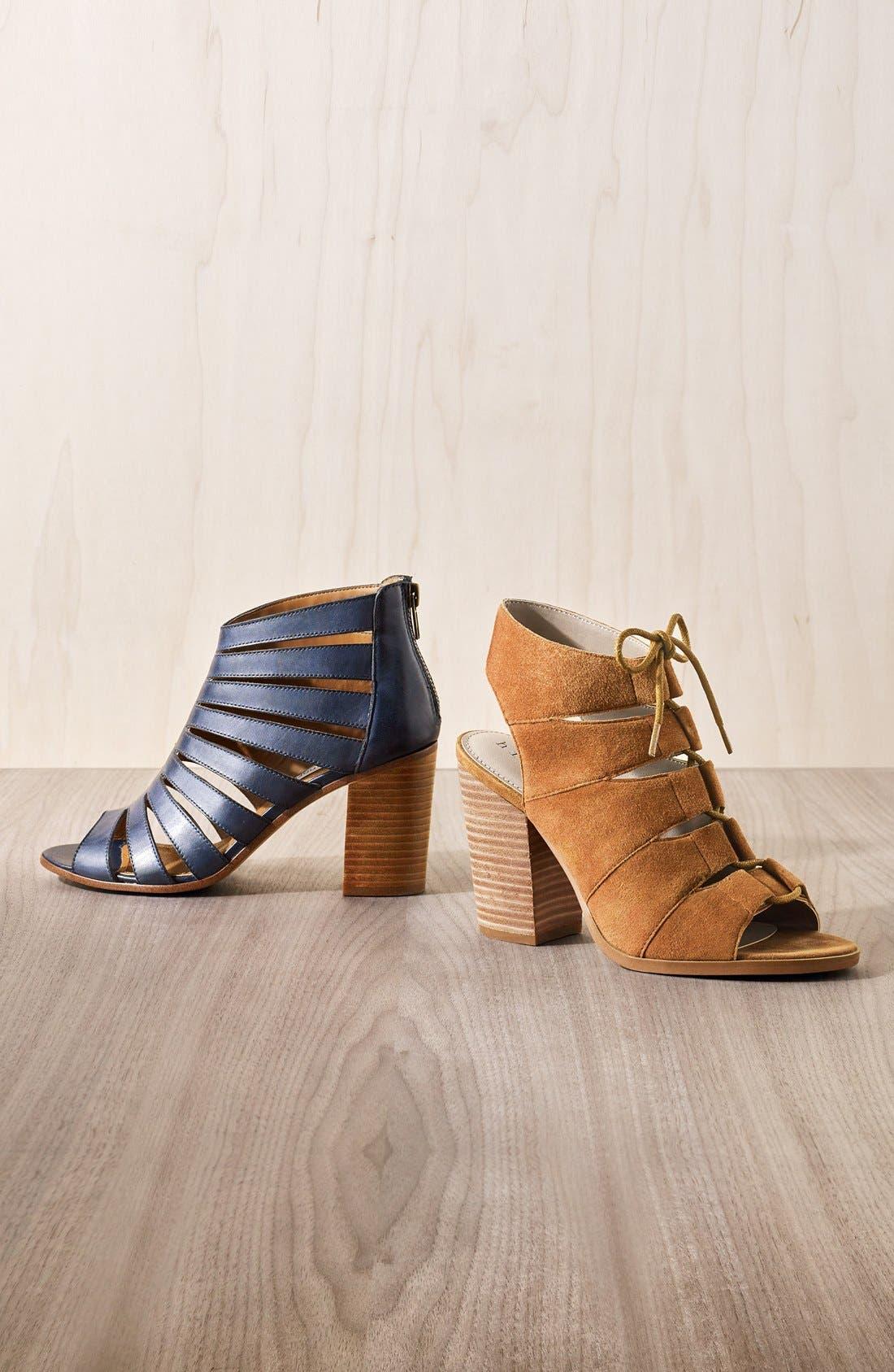 HINGE, 'Drea' Peep Toe Leather Sandal, Alternate thumbnail 2, color, 002