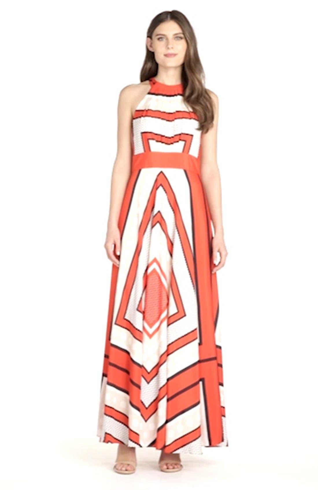 ELIZA J, Scarf Print Crêpe de Chine Fit & Flare Maxi Dress, Alternate thumbnail 11, color, MULTI