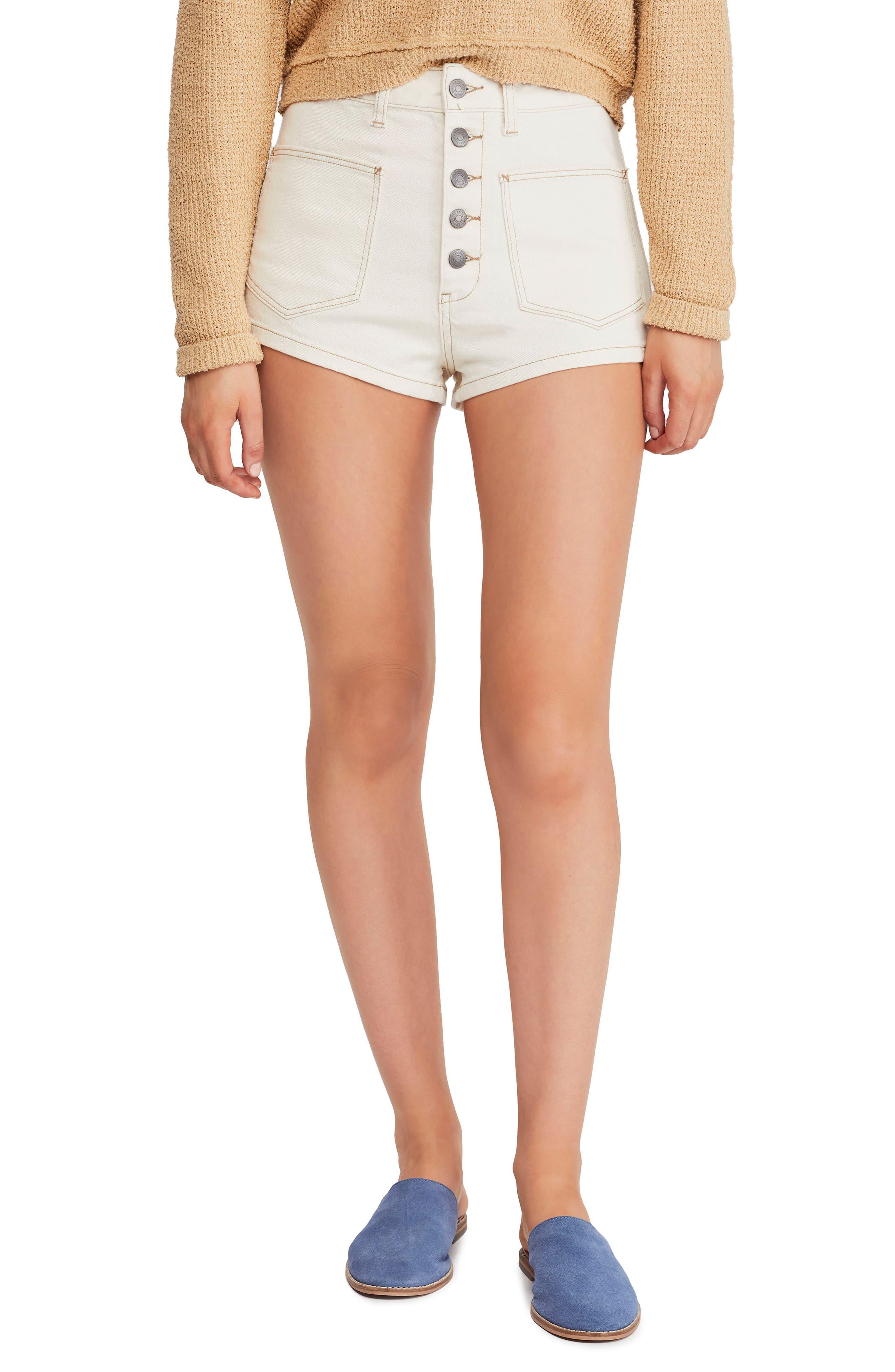 FREE PEOPLE Bridgette Denim Shorts, Main, color, CREAM
